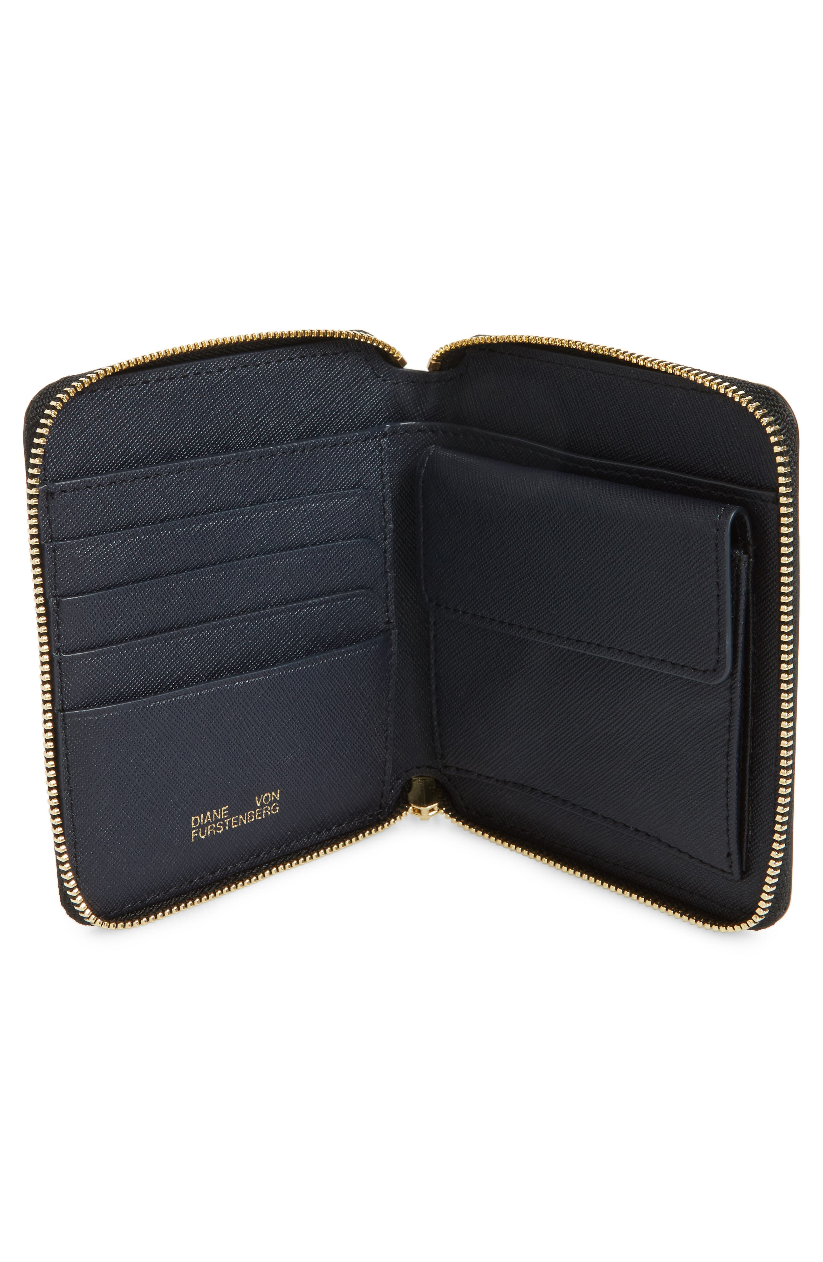 Small Leather Zip Wallet,                             Alternate thumbnail 2, color,                             Harlow Black
