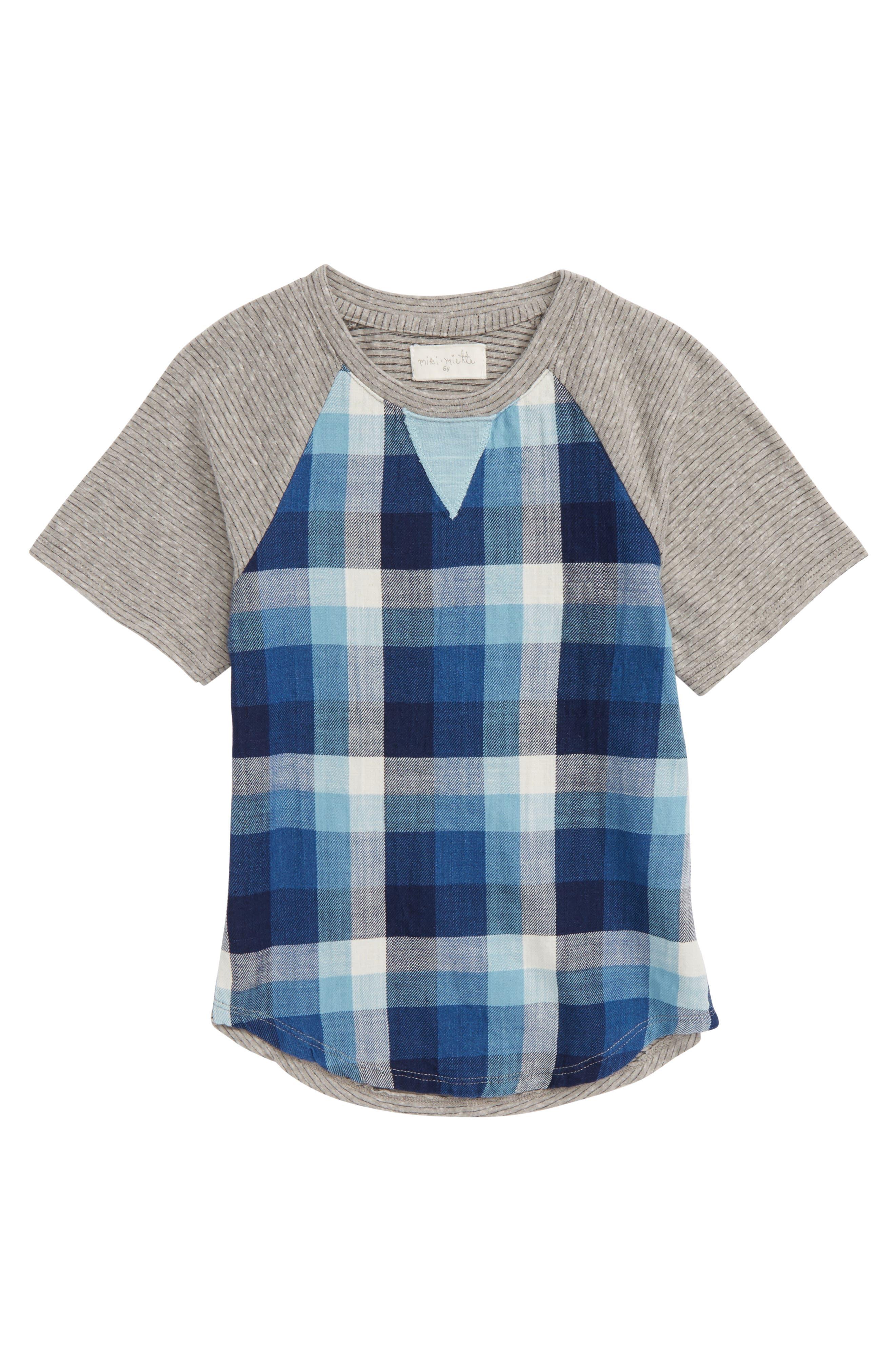 Main Image - Miki Miette Caz Plaid T-Shirt (Toddler Boys, Little Boys & Big Boys)