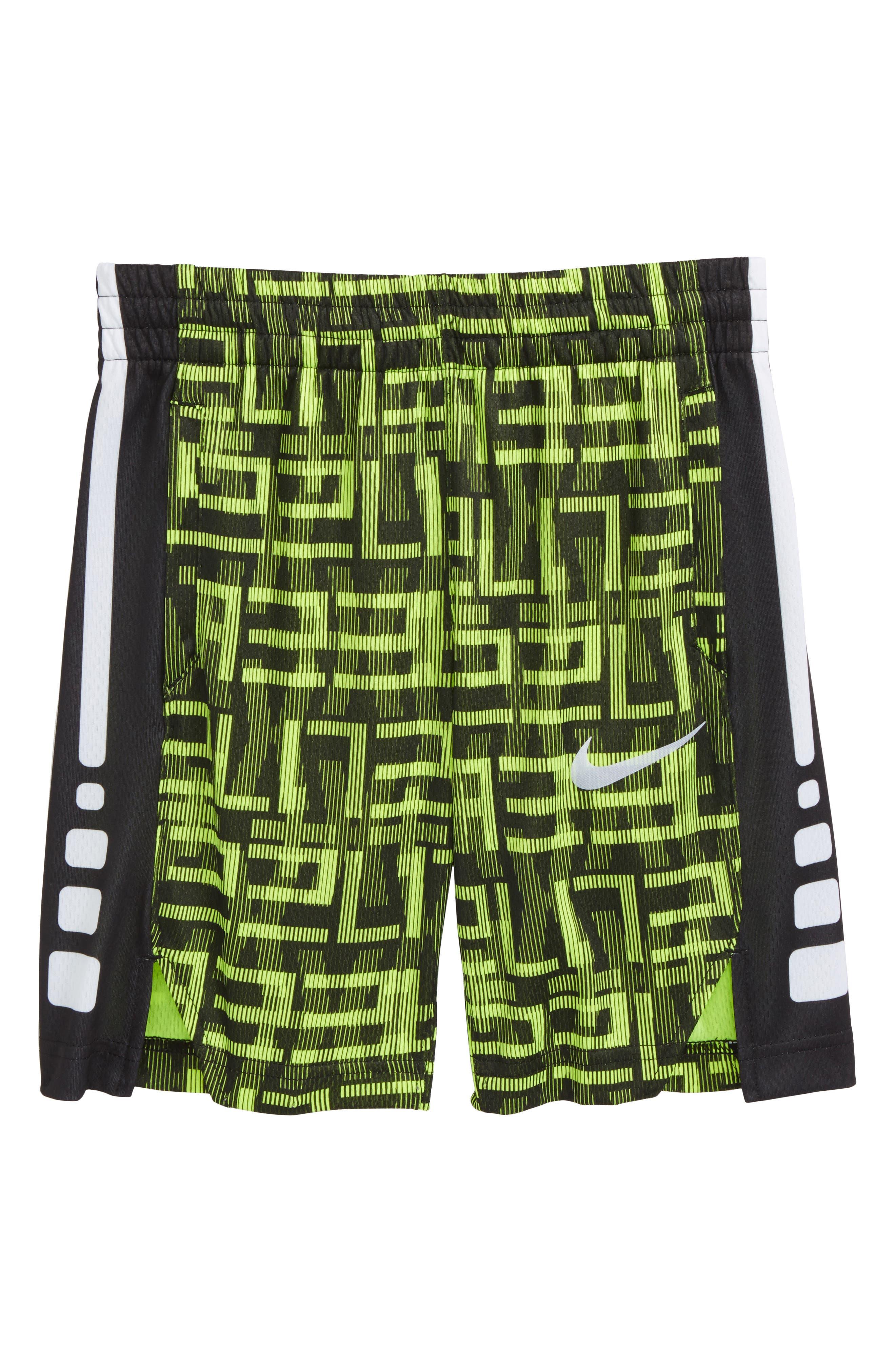 Elite Dry AOP Stripe Shorts,                         Main,                         color, Volt