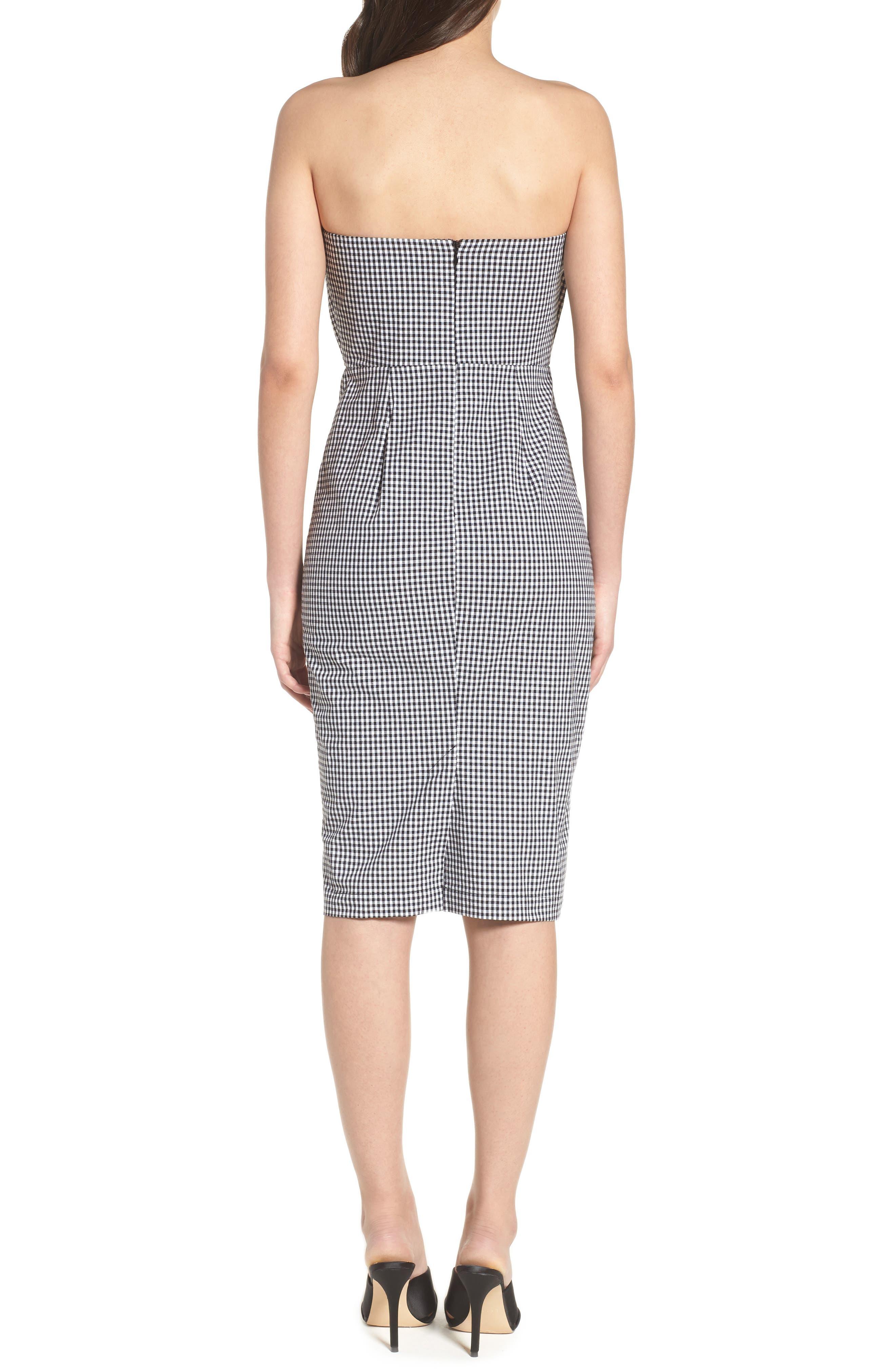 Strapless Gingham Dress,                             Alternate thumbnail 2, color,                             Black Gingham Stripe
