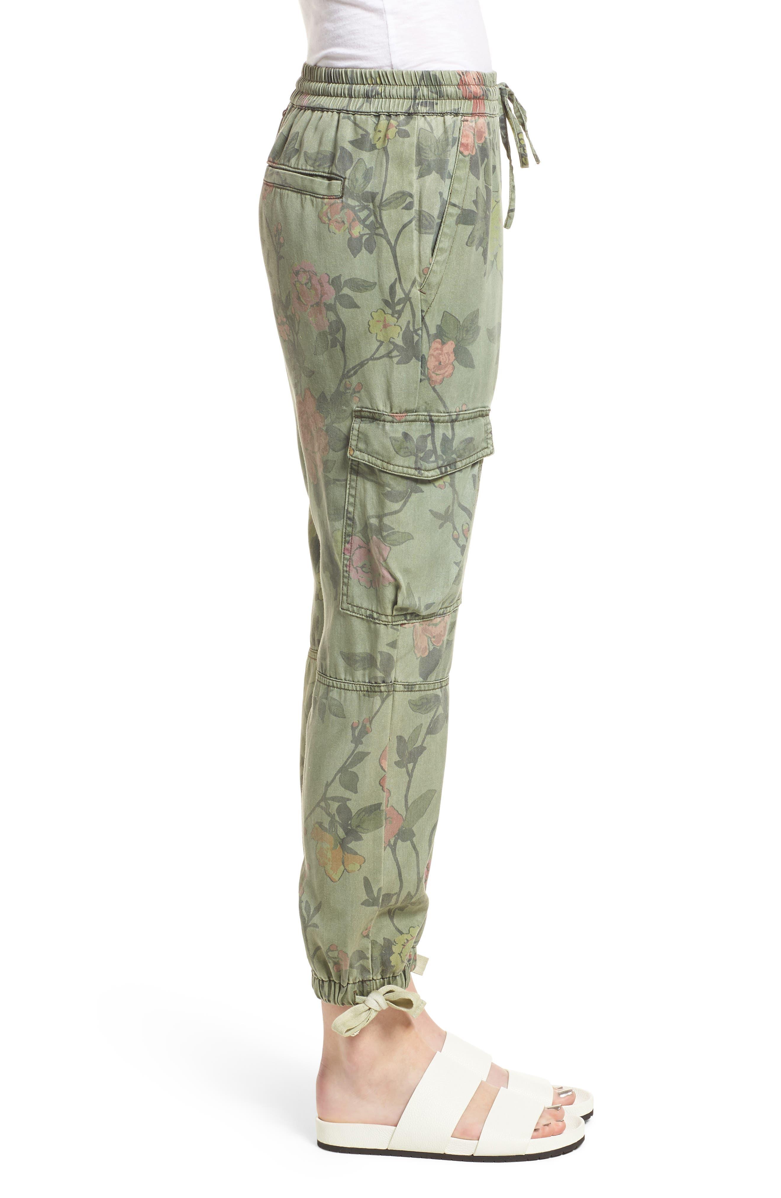 Floral Cargo Pants,                             Alternate thumbnail 3, color,                             Wallflower Print