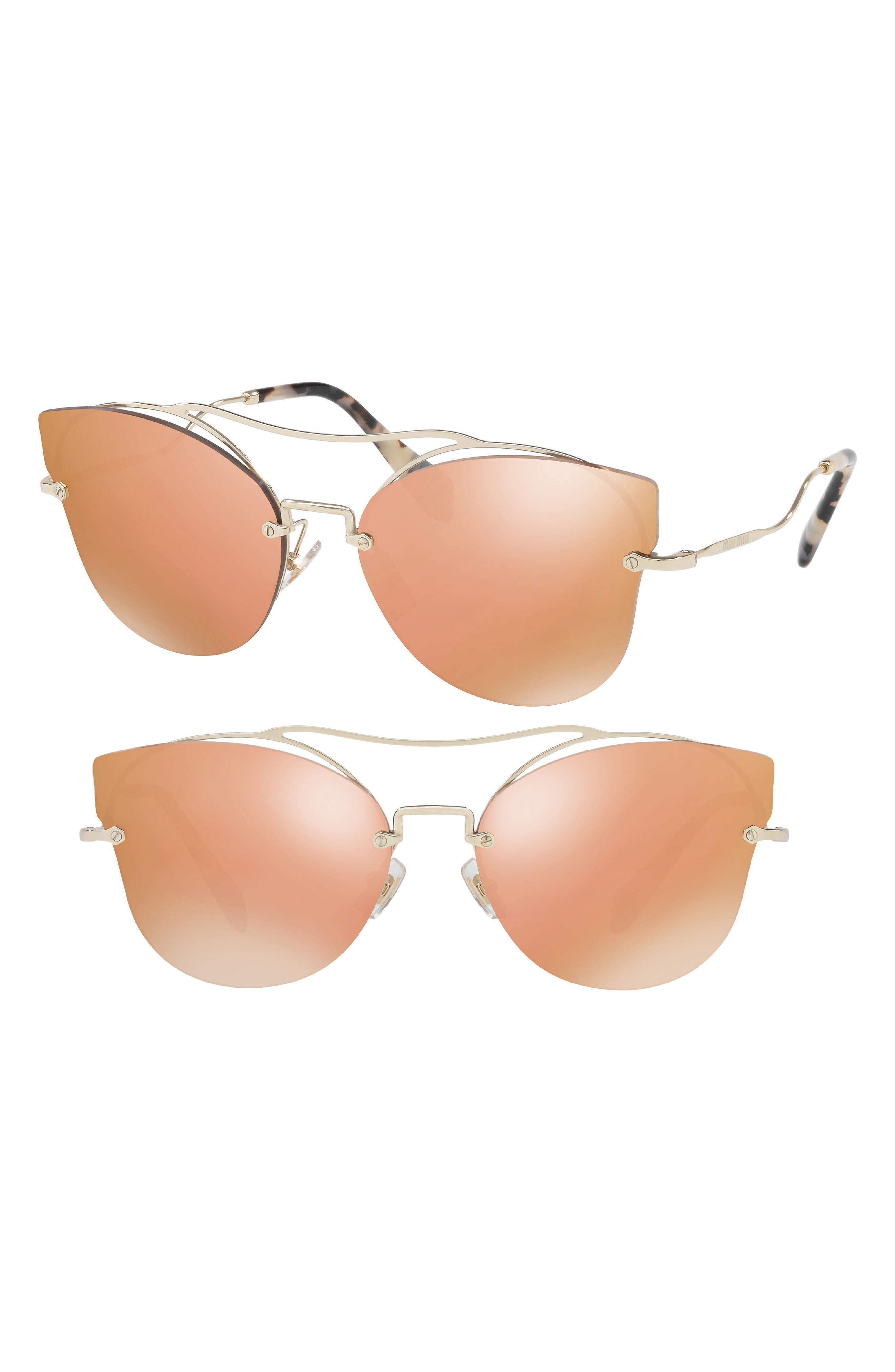 62mm Aviator Sunglasses,                             Main thumbnail 1, color,                             Gold/ Pink Mirror