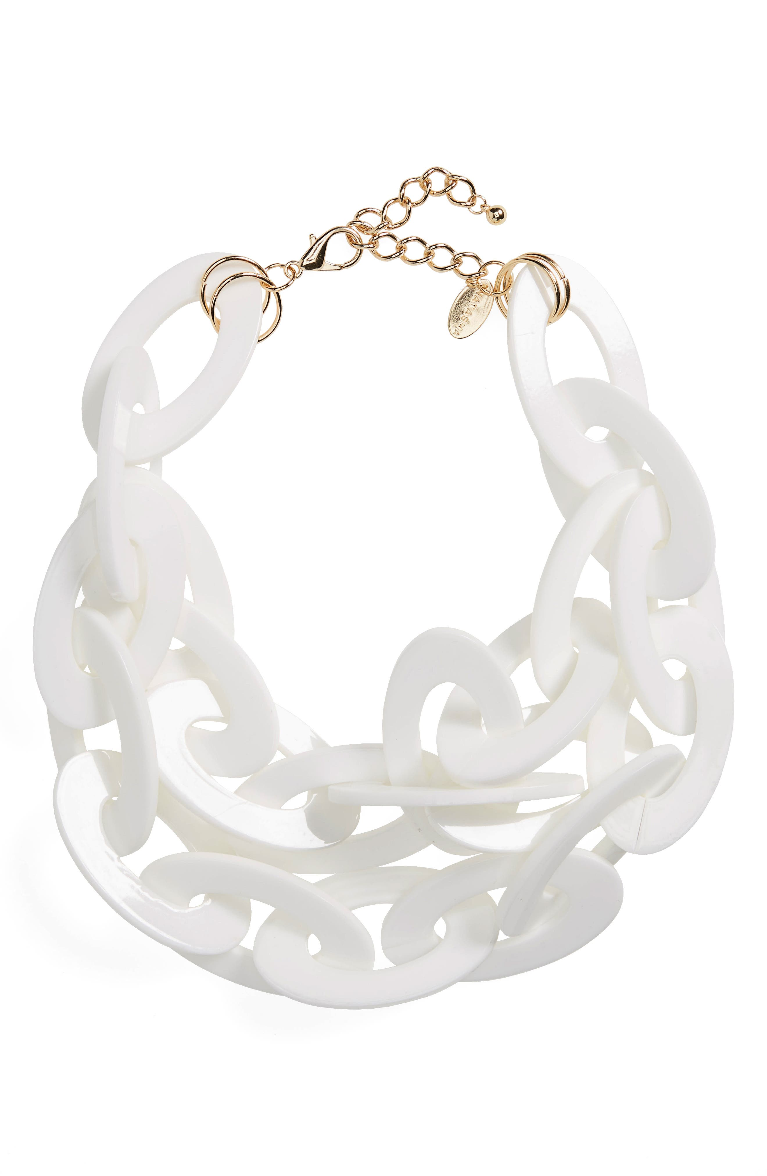 Oversize Link Statement Necklace,                             Main thumbnail 1, color,                             White