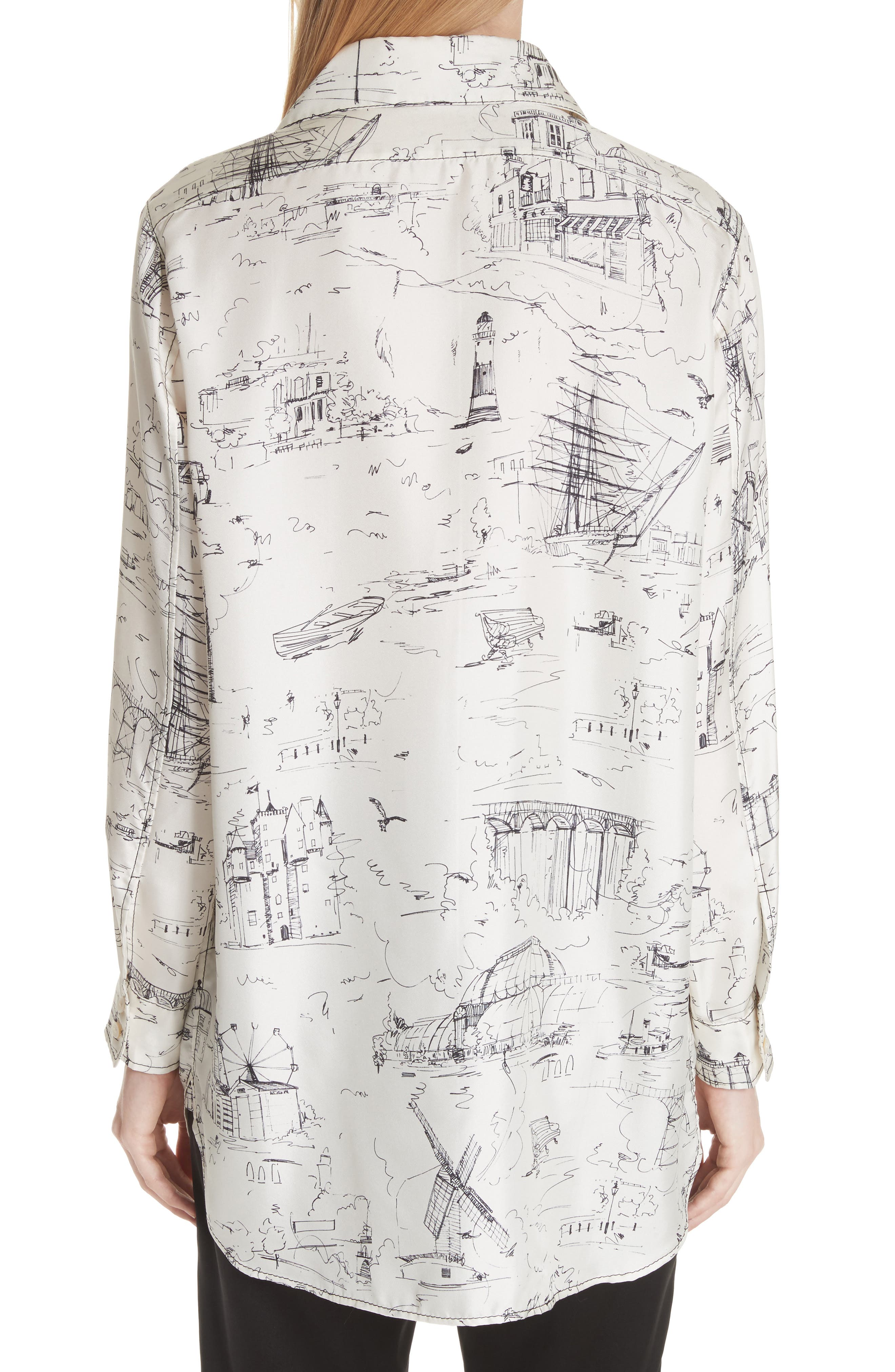 Chava Sketch Silk Shirt,                             Alternate thumbnail 2, color,                             Off White
