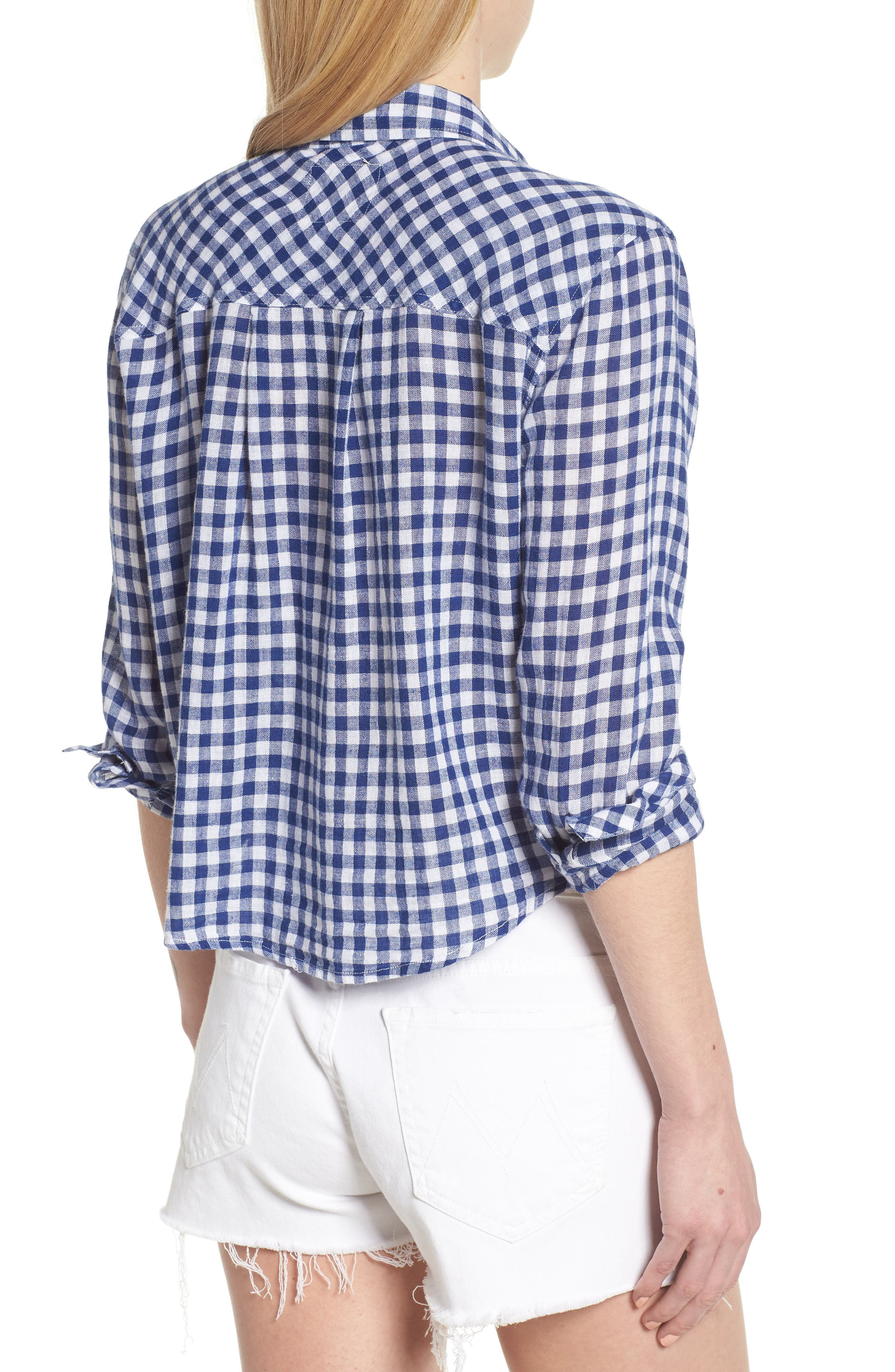 Val Gingham Tie Front Shirt,                             Alternate thumbnail 2, color,                             Blue Gingham