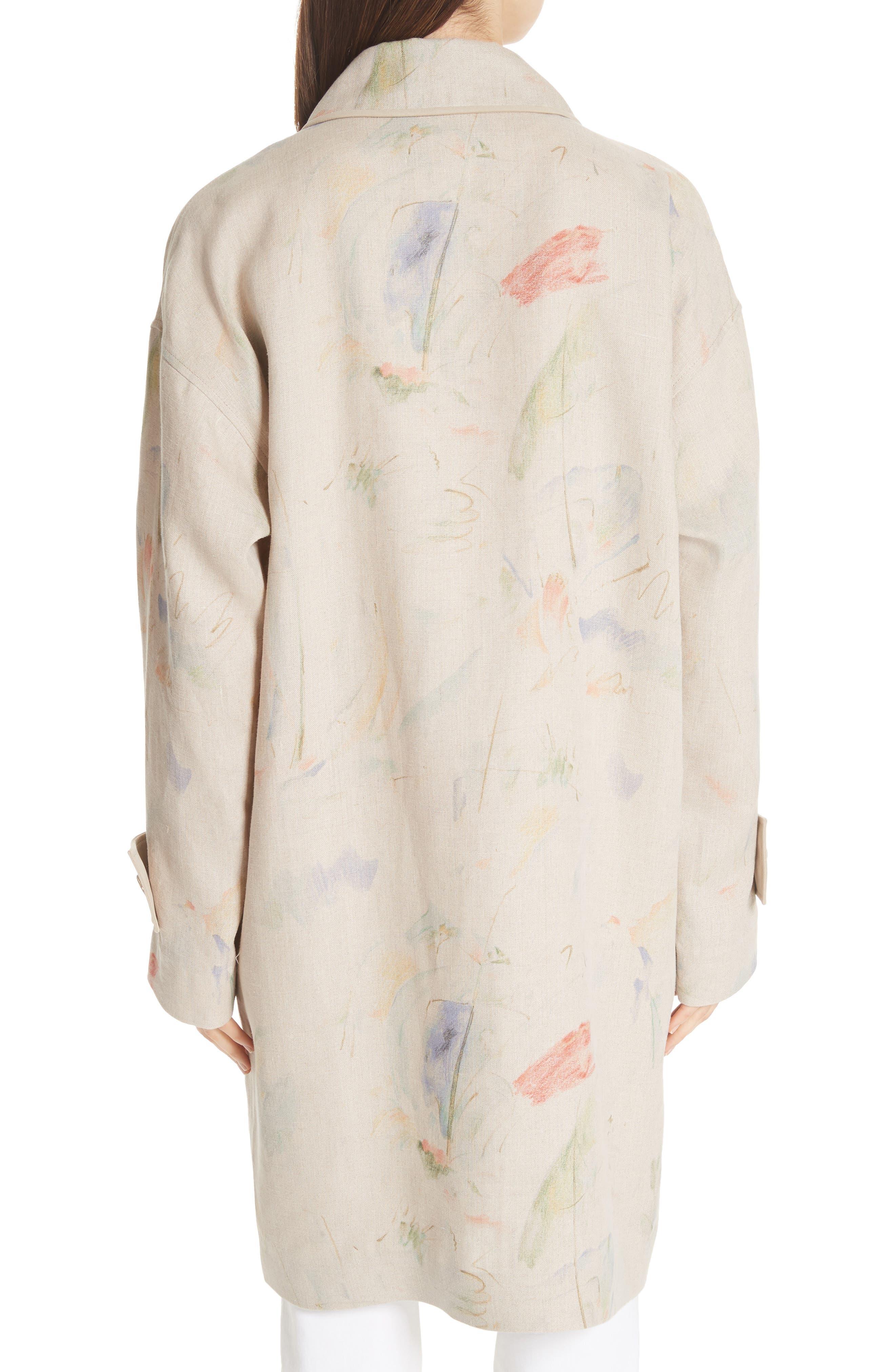 Laurita Linen Trench Coat,                             Alternate thumbnail 2, color,                             Soba Multi