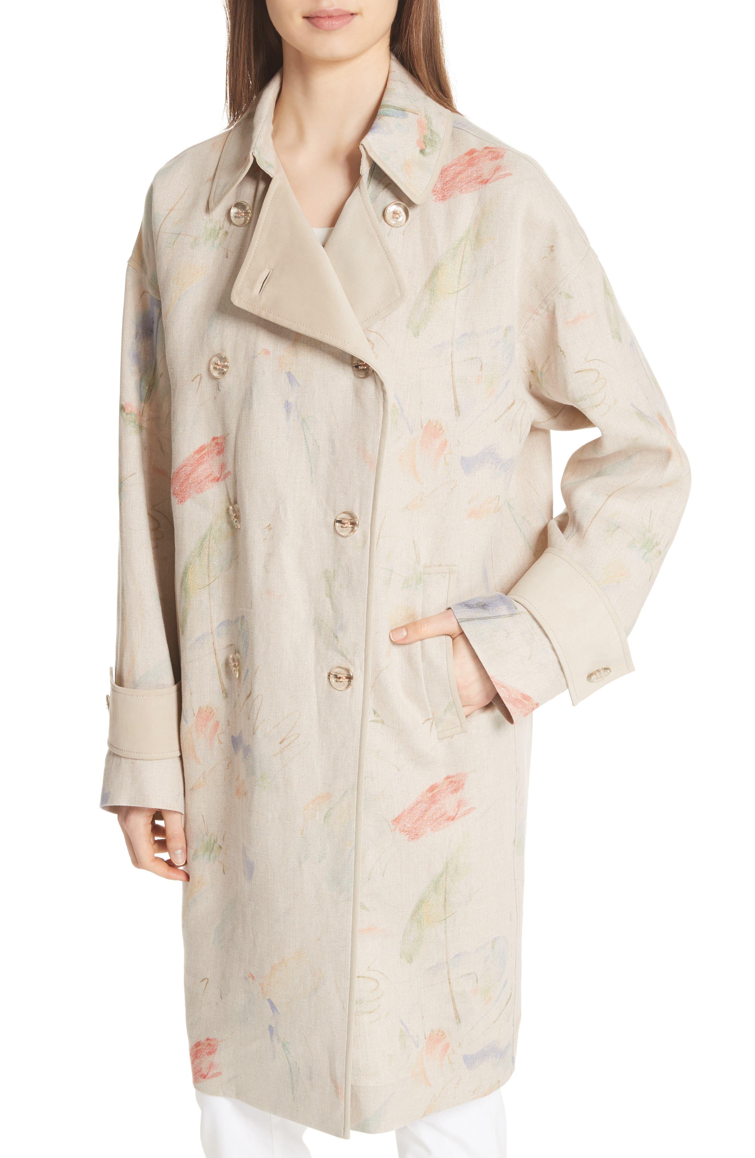Laurita Linen Trench Coat,                             Alternate thumbnail 4, color,                             Soba Multi