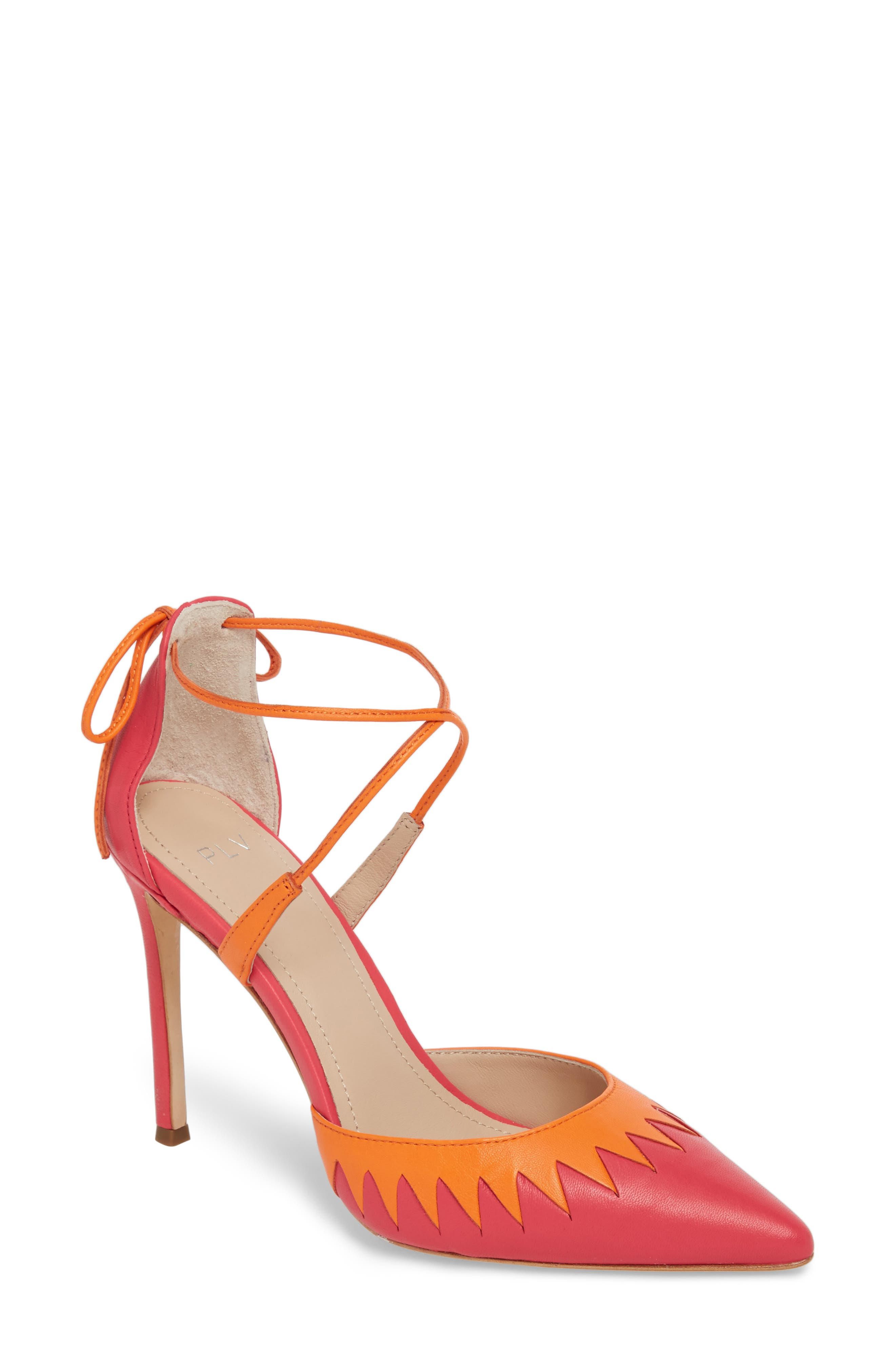 Cenya Pump,                             Main thumbnail 1, color,                             Azalea/ Orange Blossom Leather