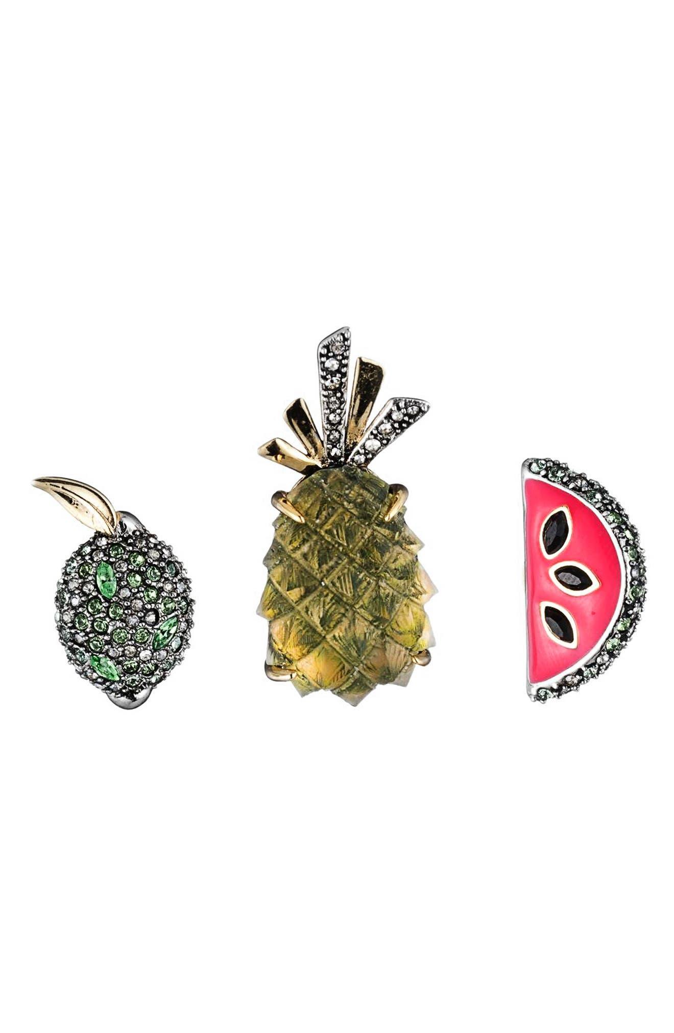 Fruity Pin Set,                             Main thumbnail 1, color,                             Pineapple