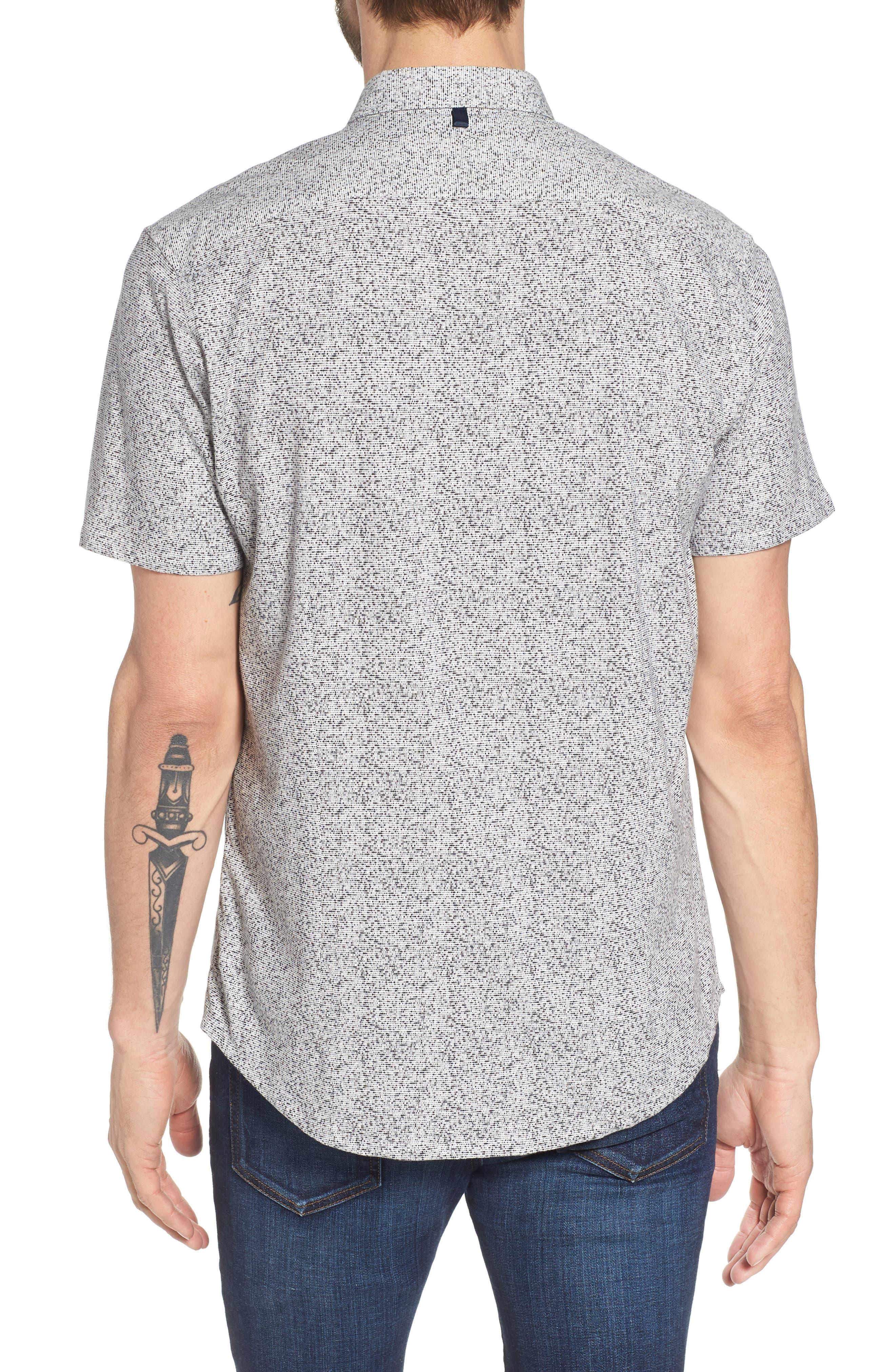 Rework Slim Fit Dot Print Sport Shirt,                             Alternate thumbnail 2, color,                             Black