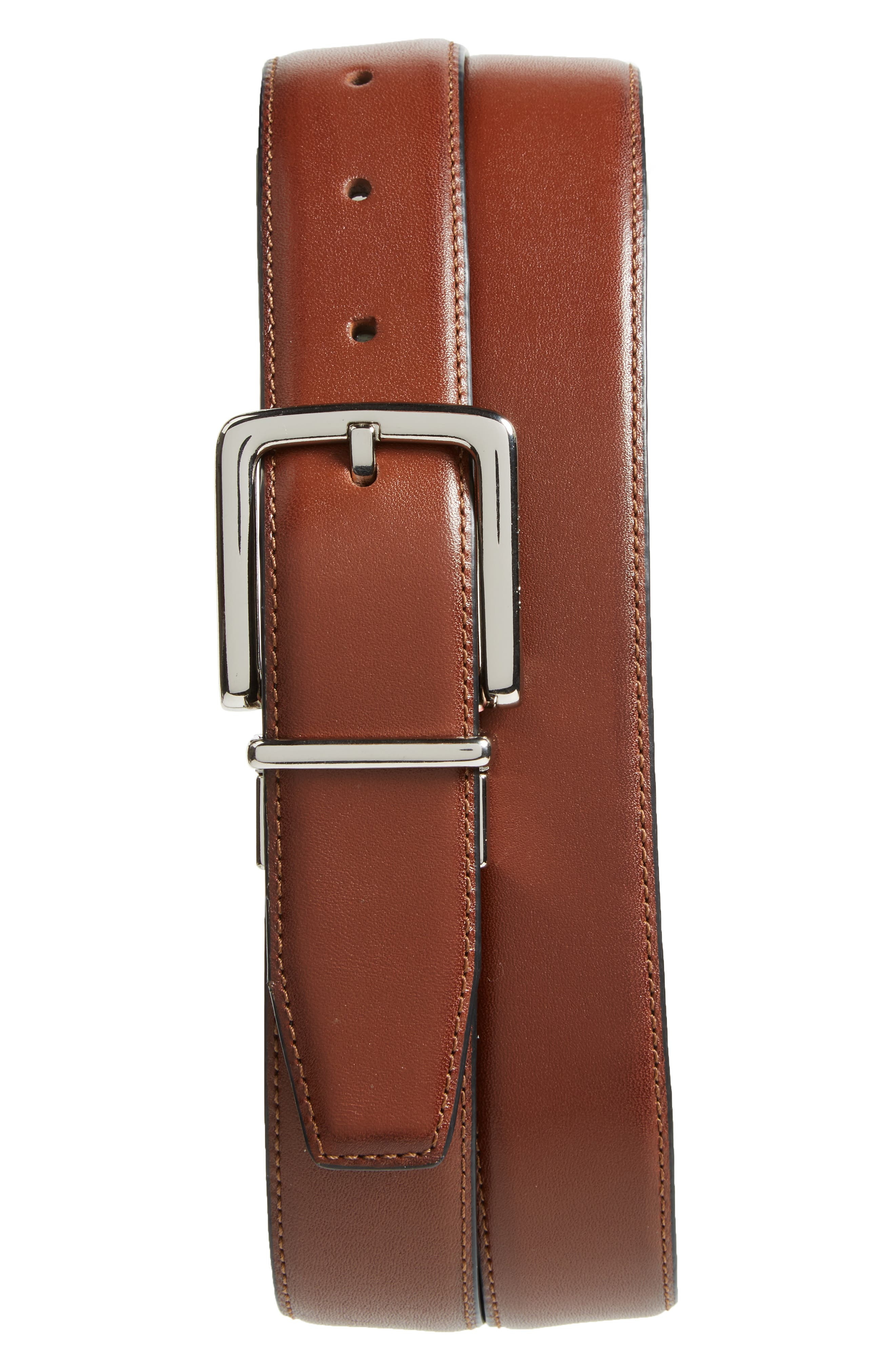 Reversible Leather Belt,                             Main thumbnail 1, color,                             British Tan/ Black