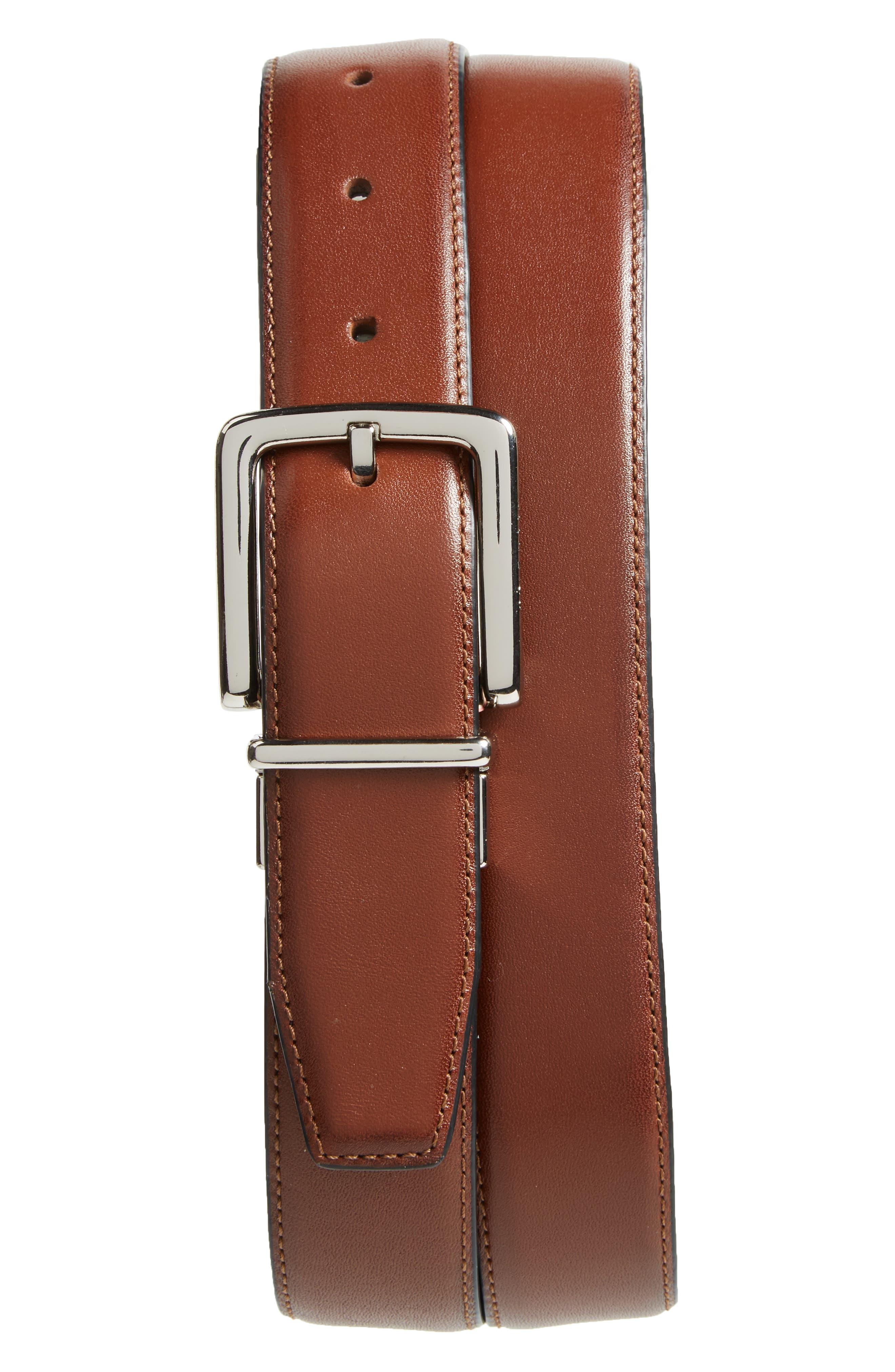 Reversible Leather Belt,                             Main thumbnail 1, color,                             British Tan/ Black