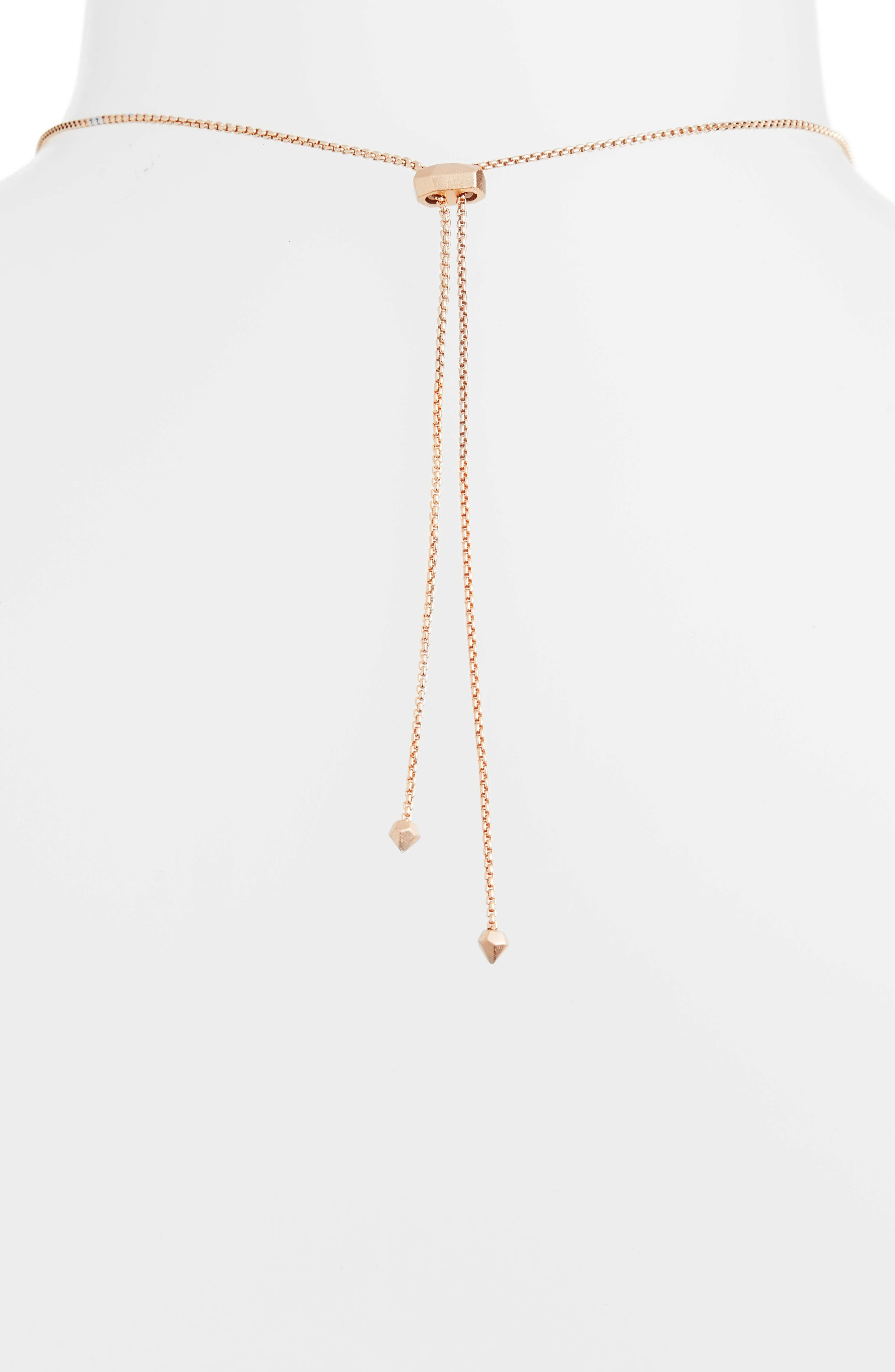 Cassidy Stone Necklace,                             Alternate thumbnail 4, color,                             Lilac Mop/ Rose Gold