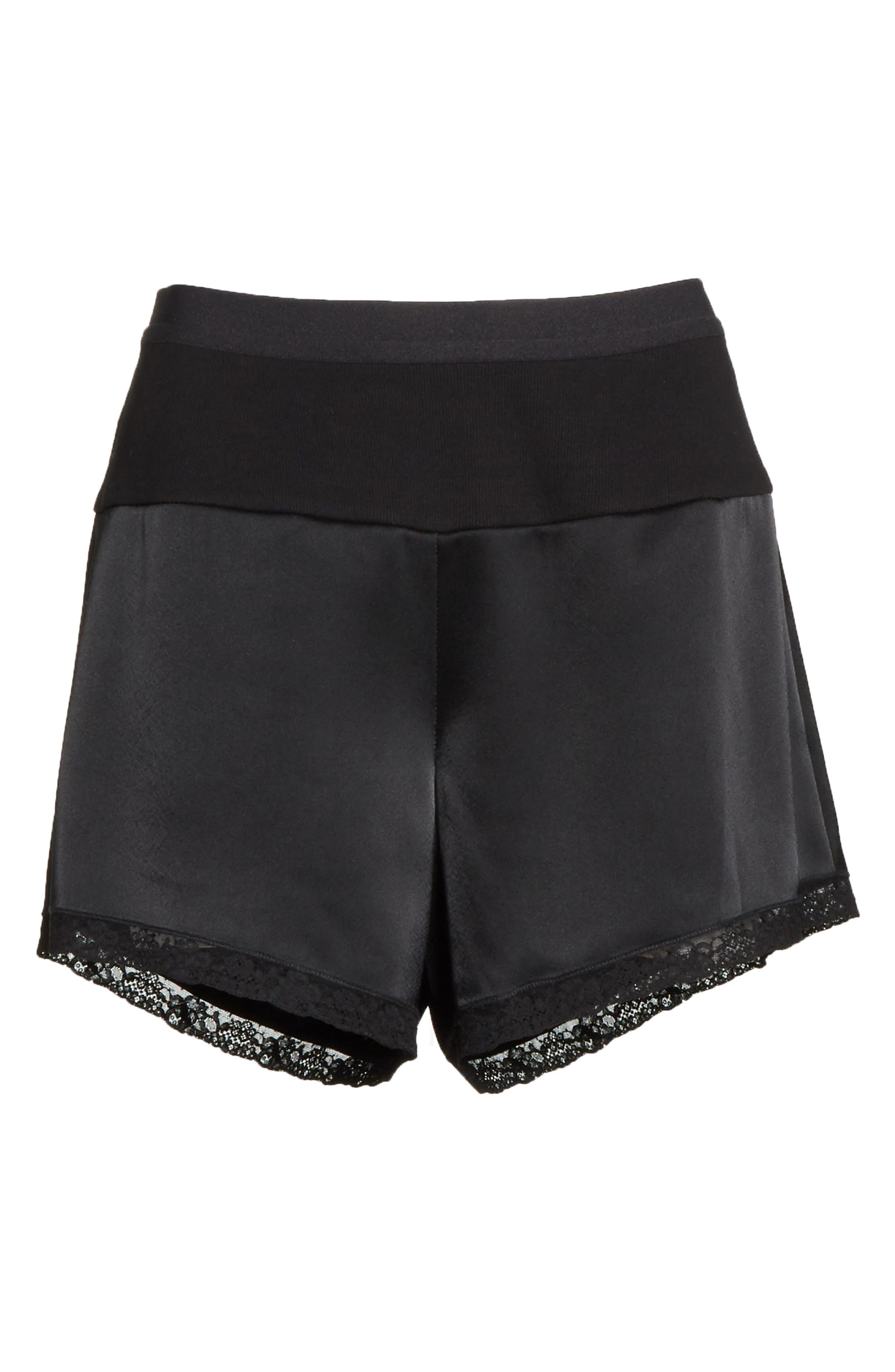 Lace Trim Satin Shorts,                             Alternate thumbnail 6, color,                             Black