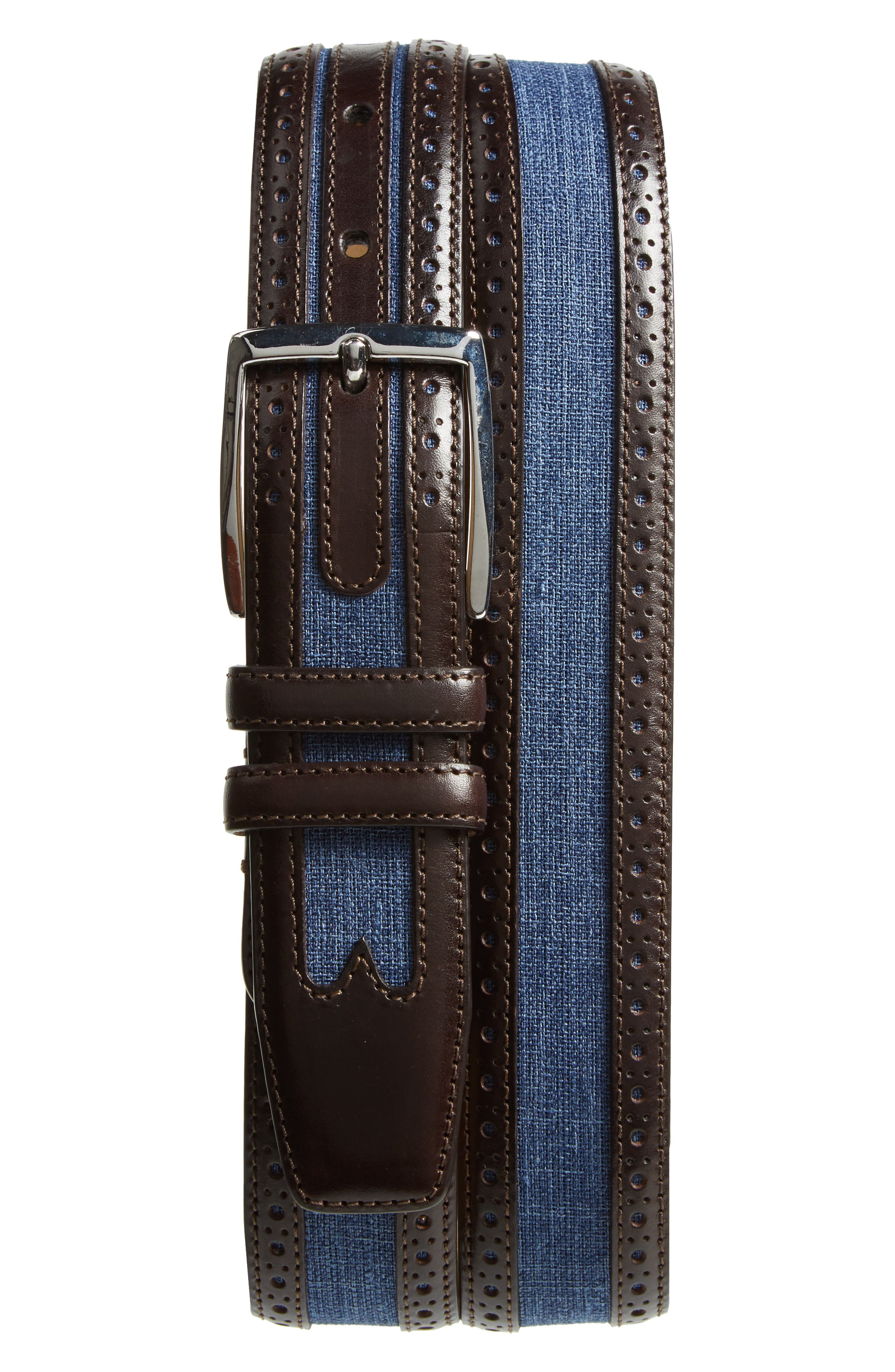 Palma Linen & Leather Belt,                             Main thumbnail 1, color,                             Brown/ Blue