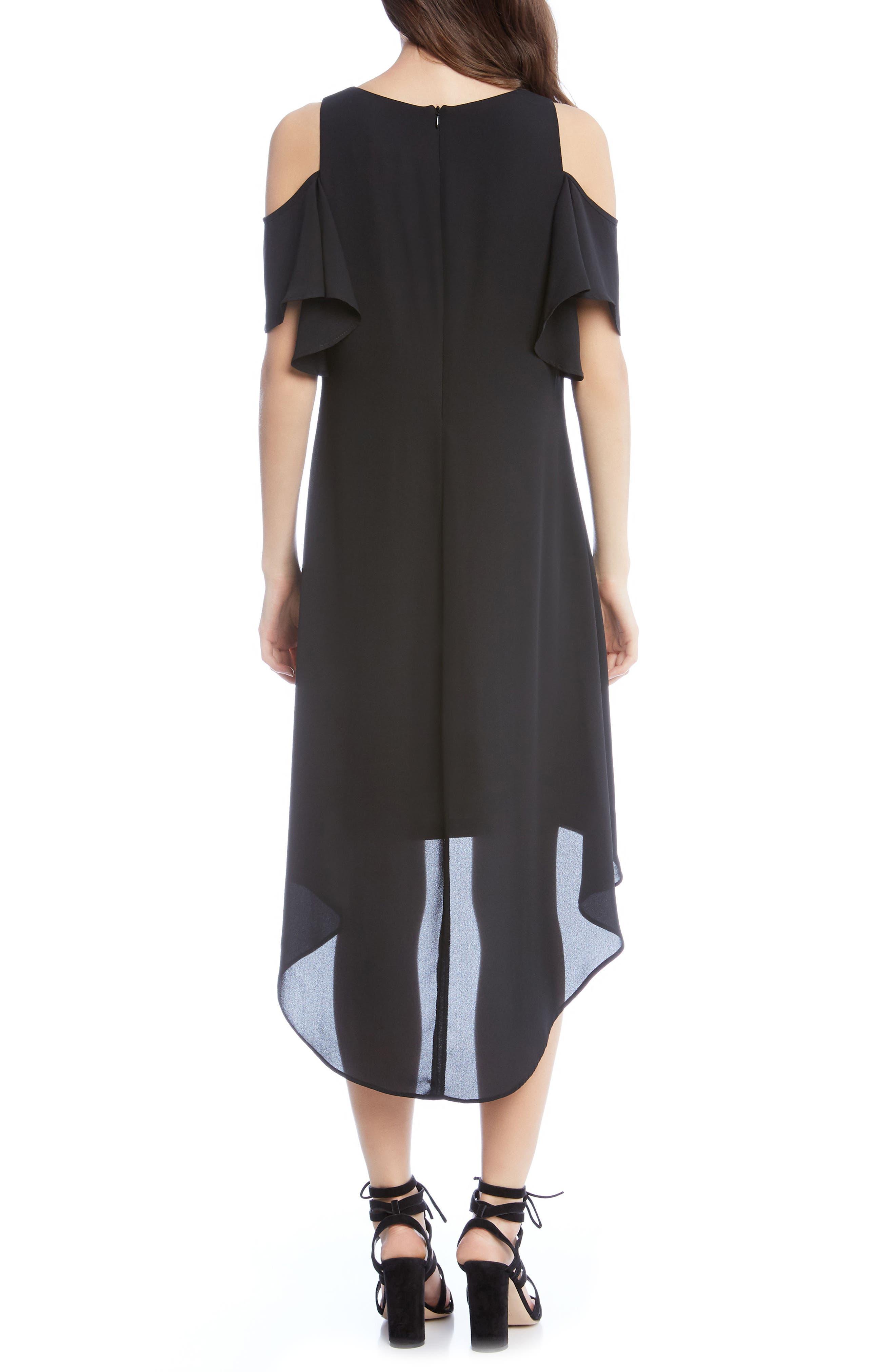 Cold Shoulder High/Low Dress,                             Alternate thumbnail 2, color,                             Black