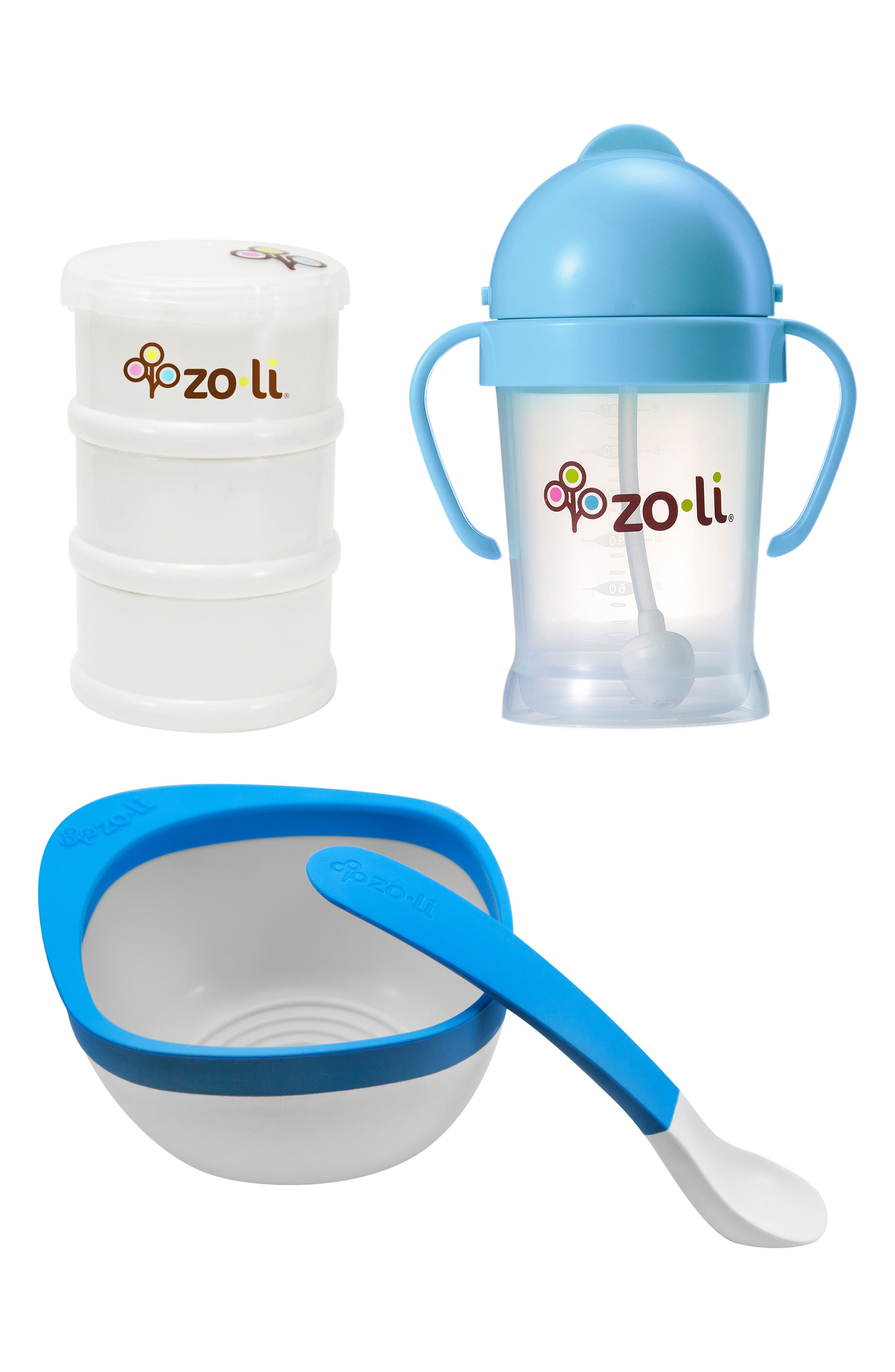 4-Piece Mealtime Set,                         Main,                         color, Blue/ White