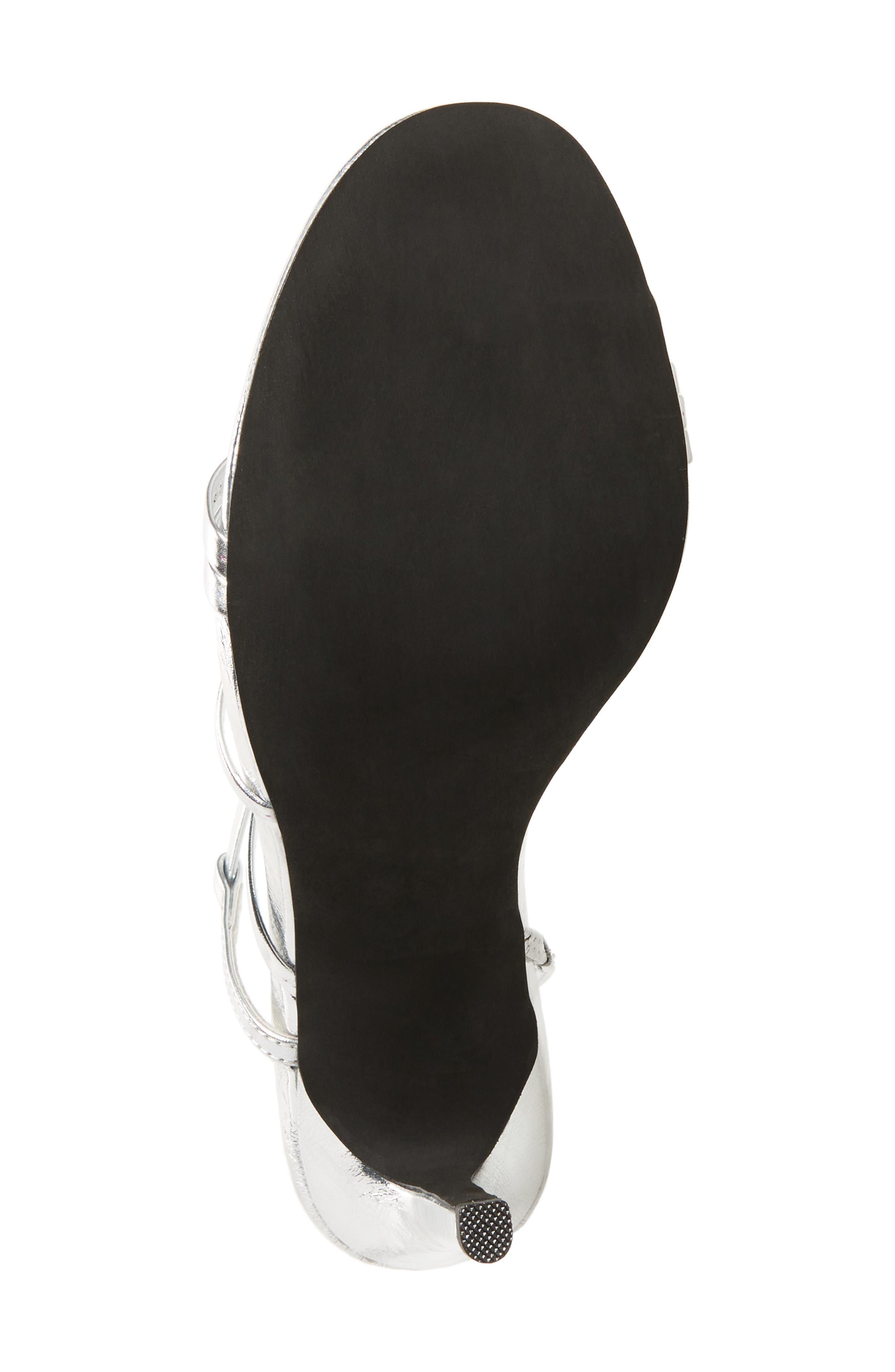 Lilian Asymmetrical Strappy Sandal,                             Alternate thumbnail 6, color,                             Silver Leather