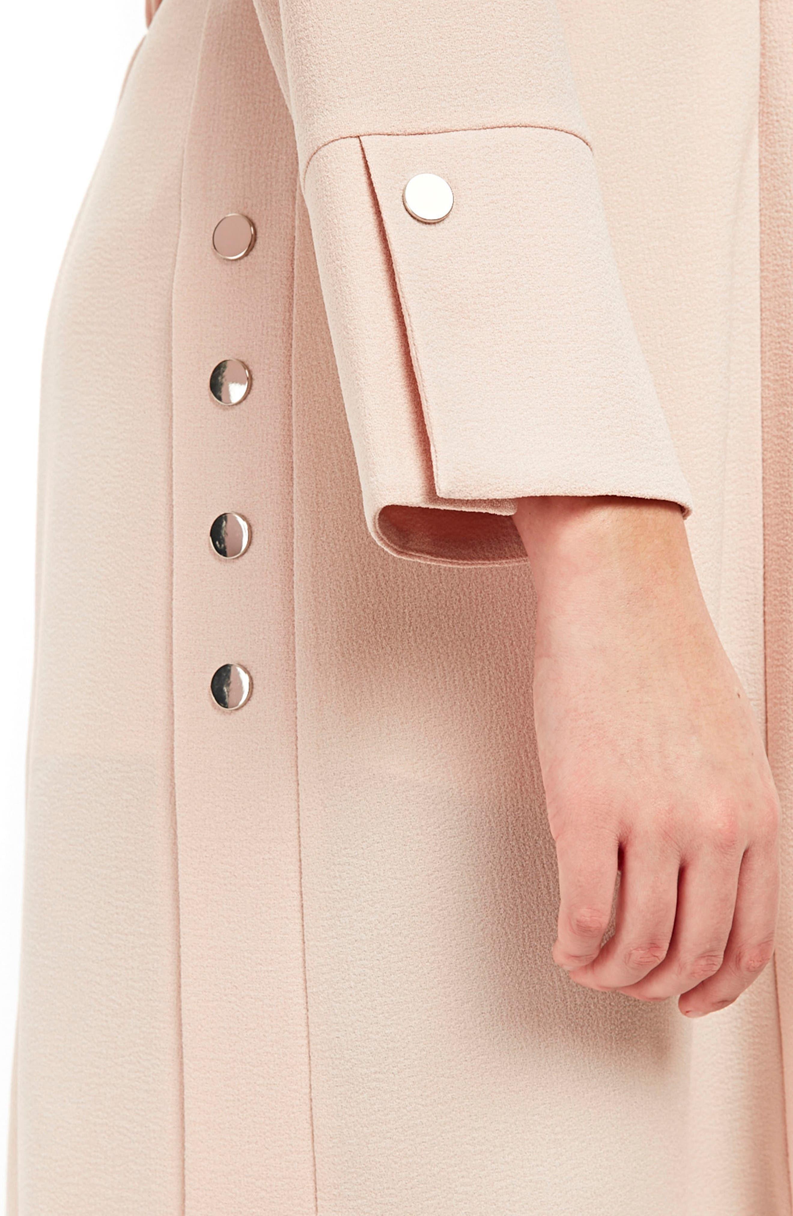 Stud Detail Longline Jacket,                             Alternate thumbnail 4, color,                             Blush