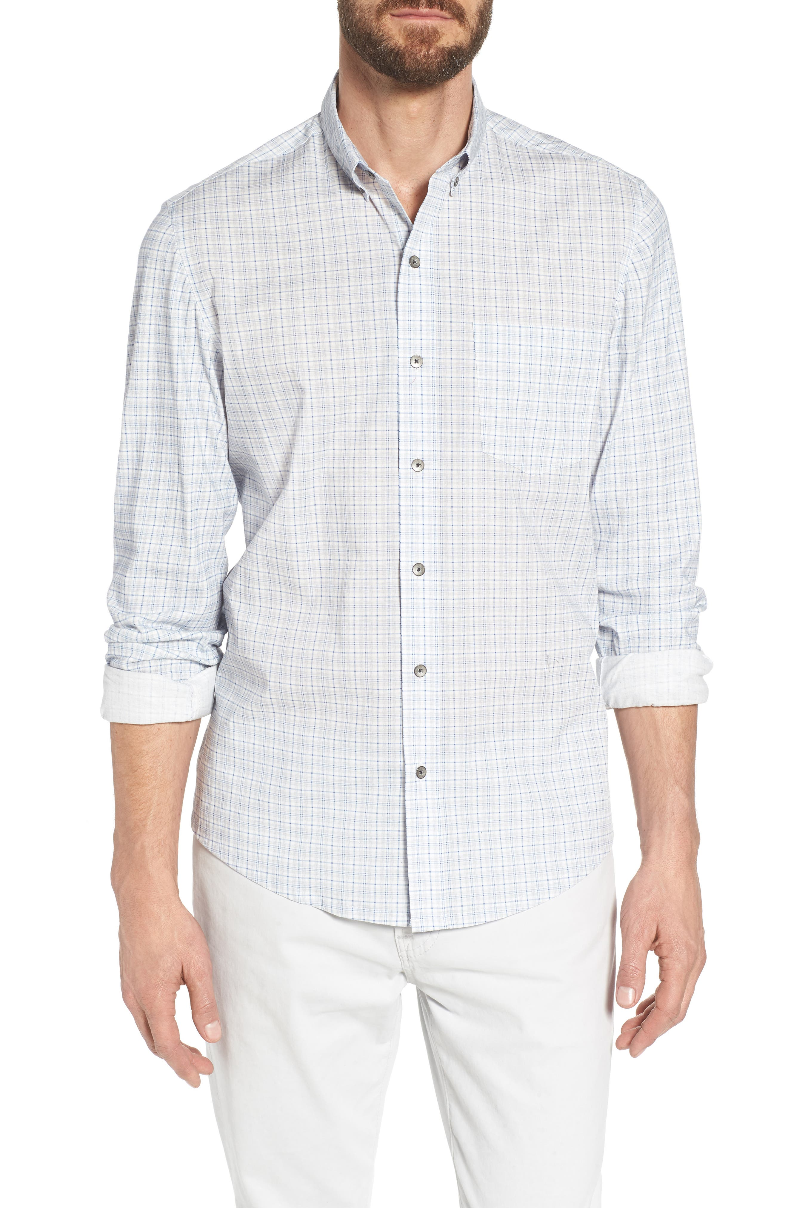 Heather Slim Fit Check Sport Shirt,                         Main,                         color, Blue