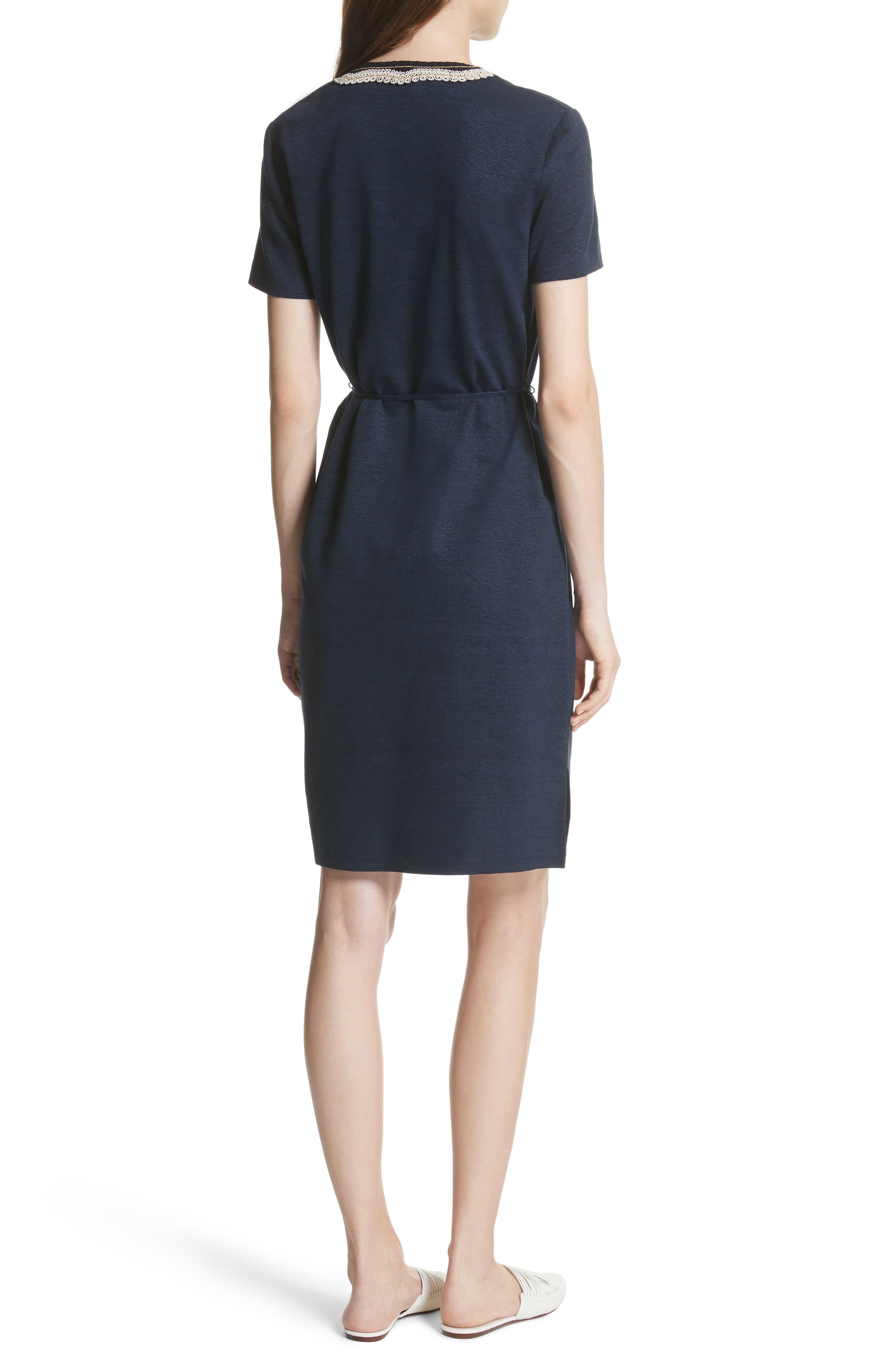 Embroidered Knit Dress,                             Alternate thumbnail 2, color,                             Tory Navy