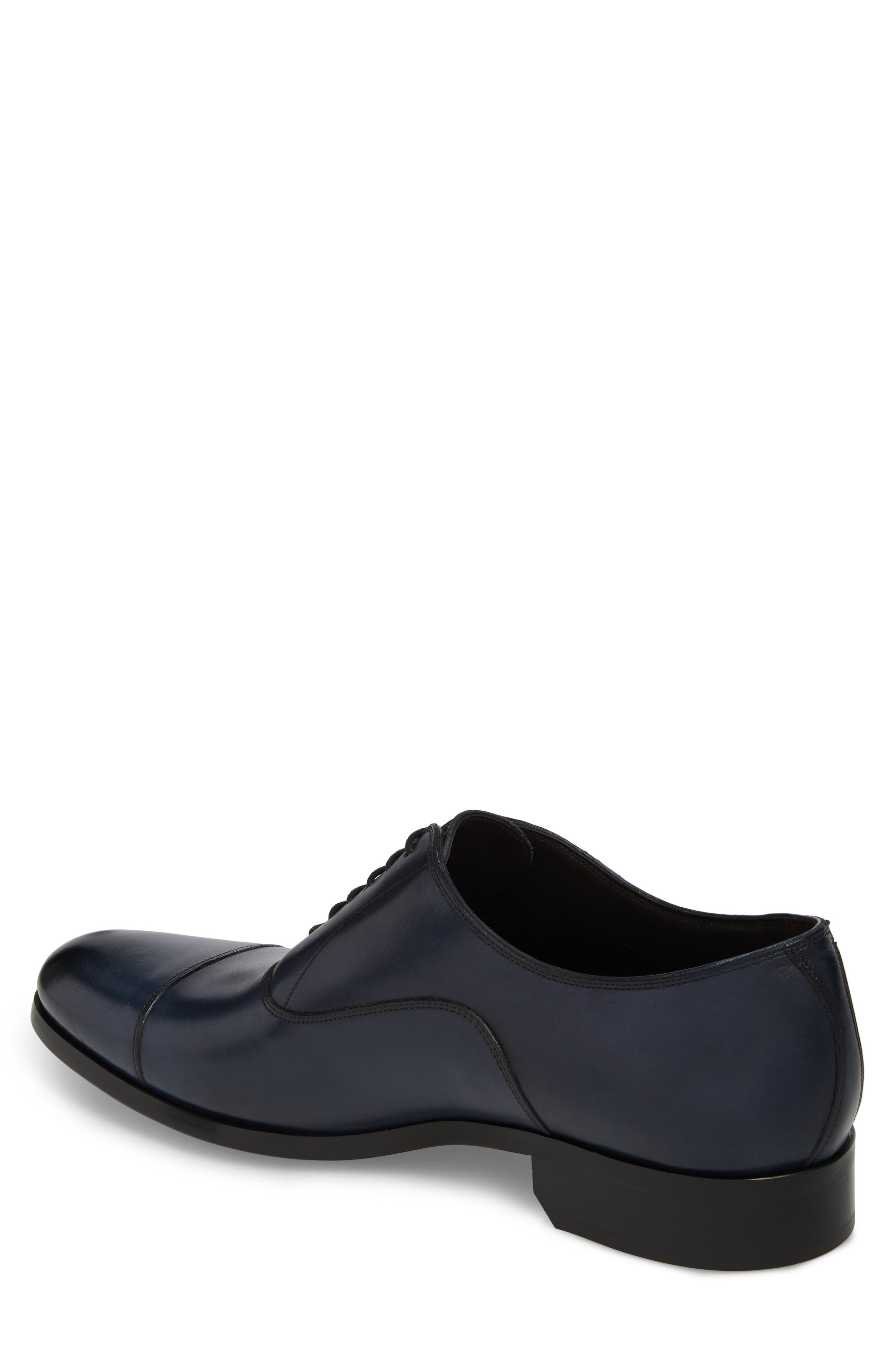 Hartcourt Cap Toe Oxford,                             Alternate thumbnail 2, color,                             Blue Leather