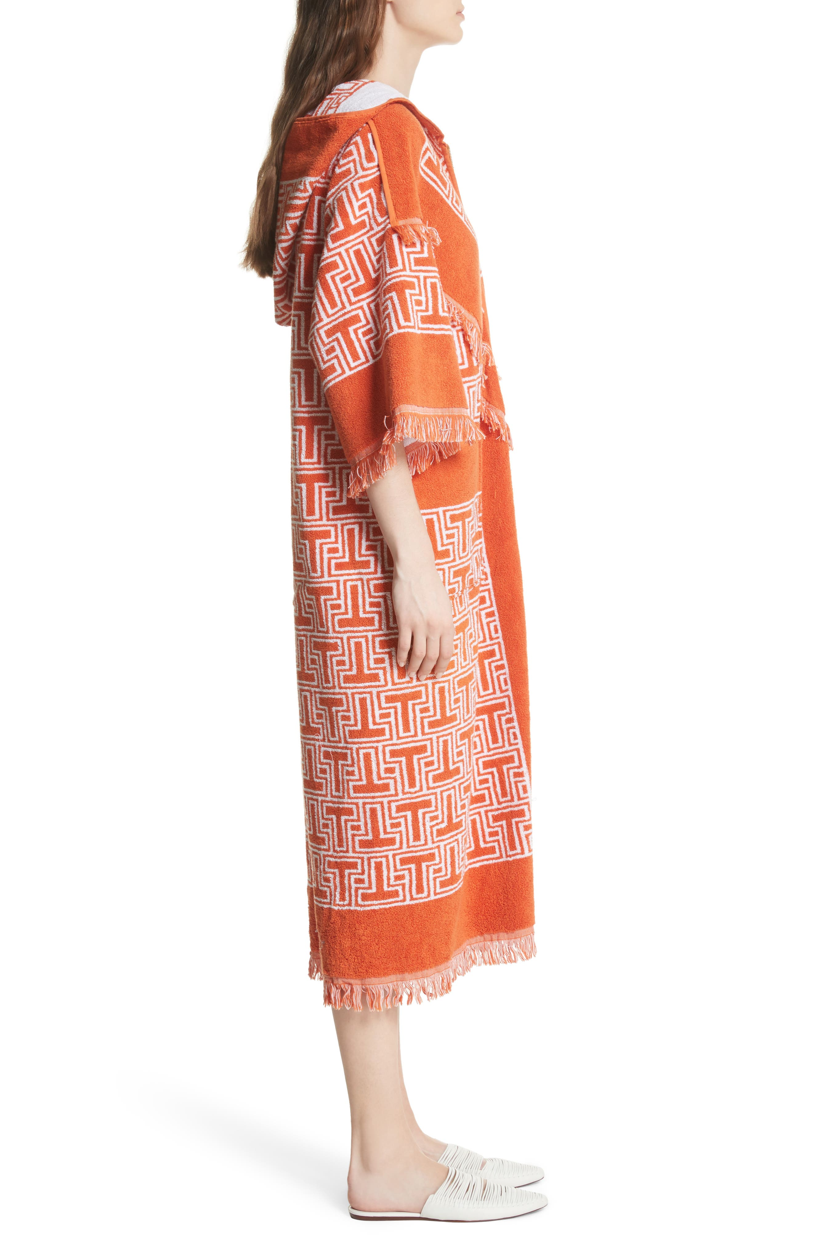 Tile T Terry Coat,                             Alternate thumbnail 3, color,                             Orange Towel Jacquard