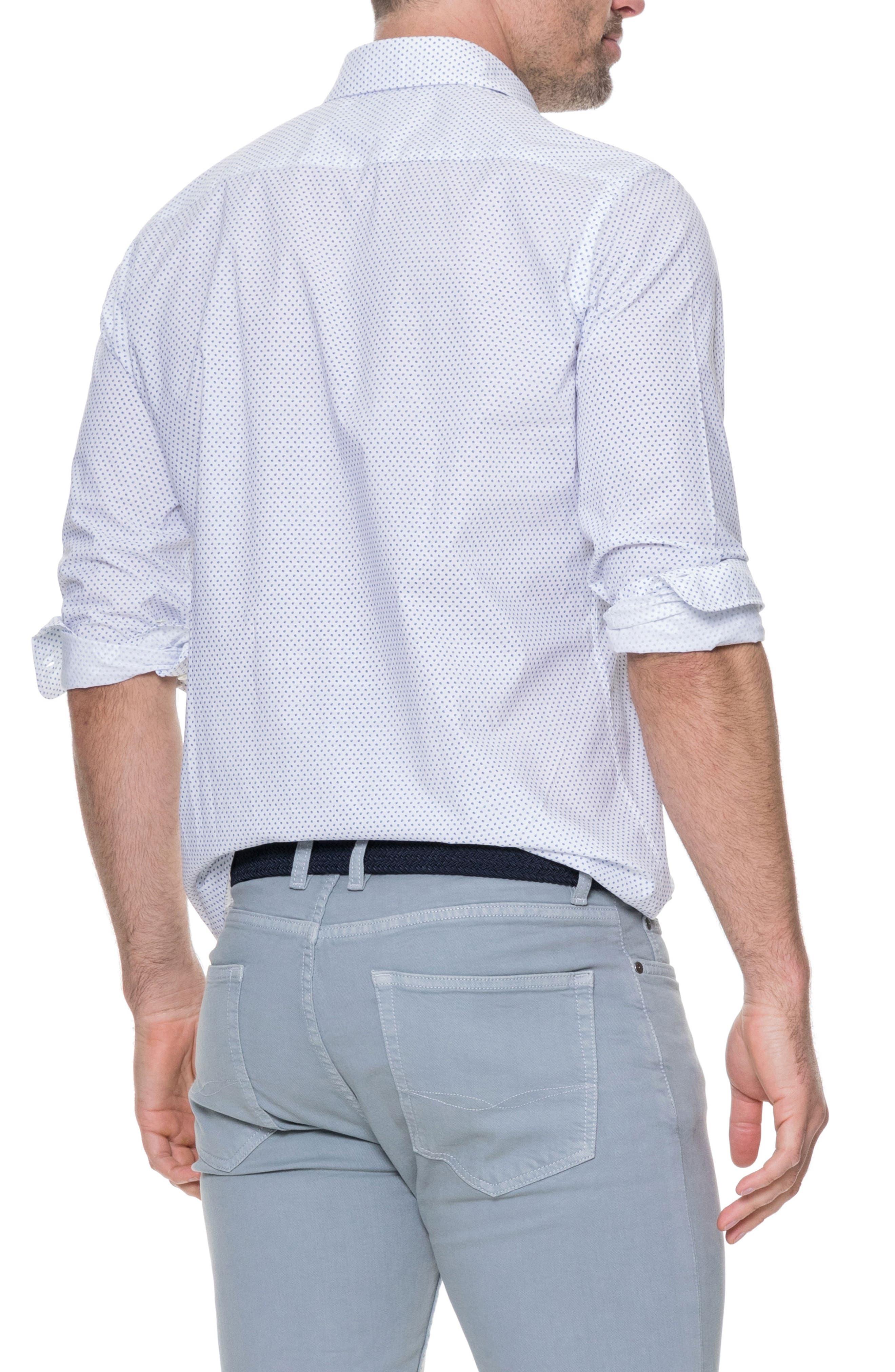 Butler Point Slim Fit Sport Shirt,                             Alternate thumbnail 3, color,                             Snow
