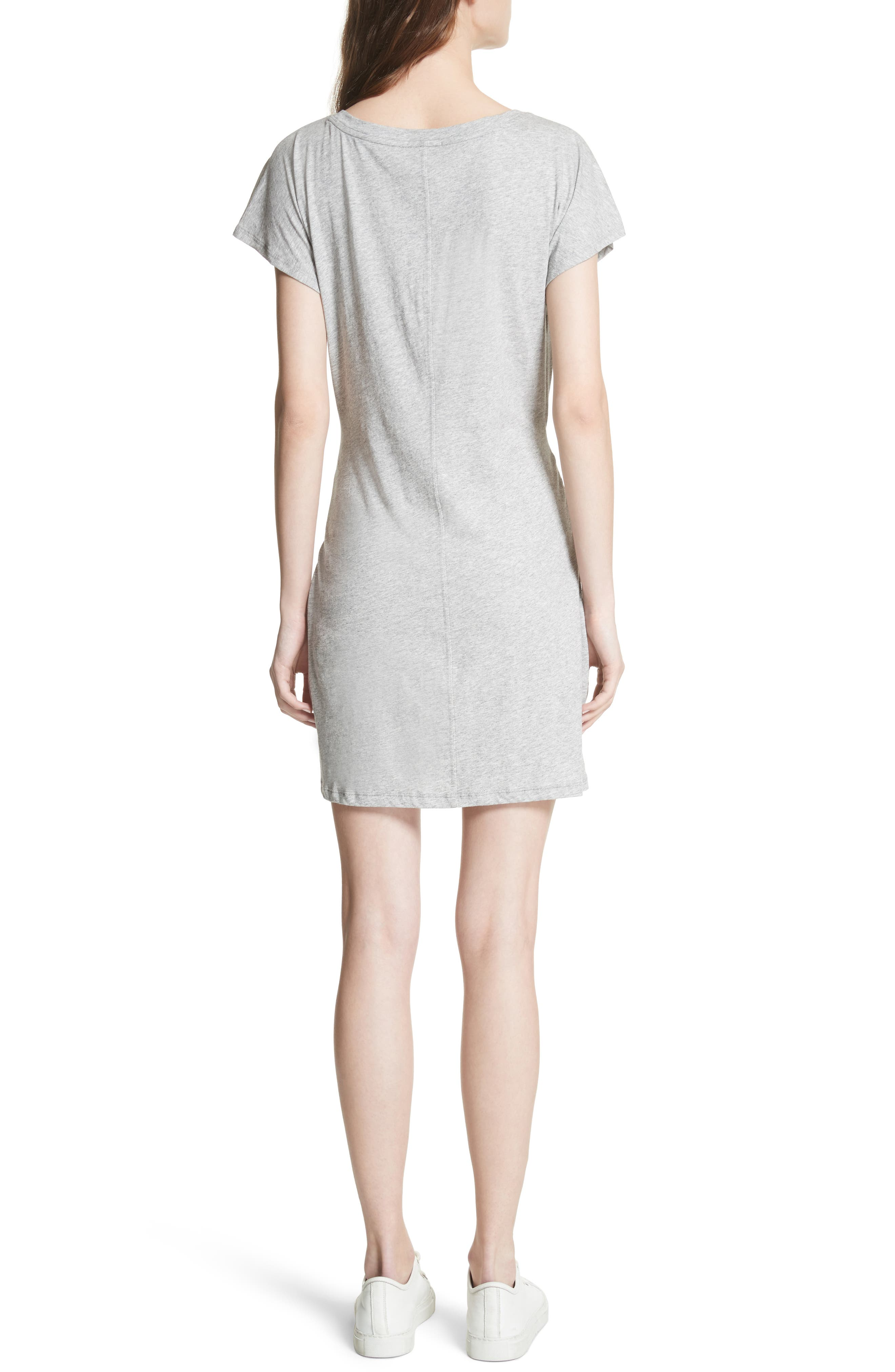 Alyra Tie Waist Cotton T-Shirt Dress,                             Alternate thumbnail 2, color,                             Heather Grey