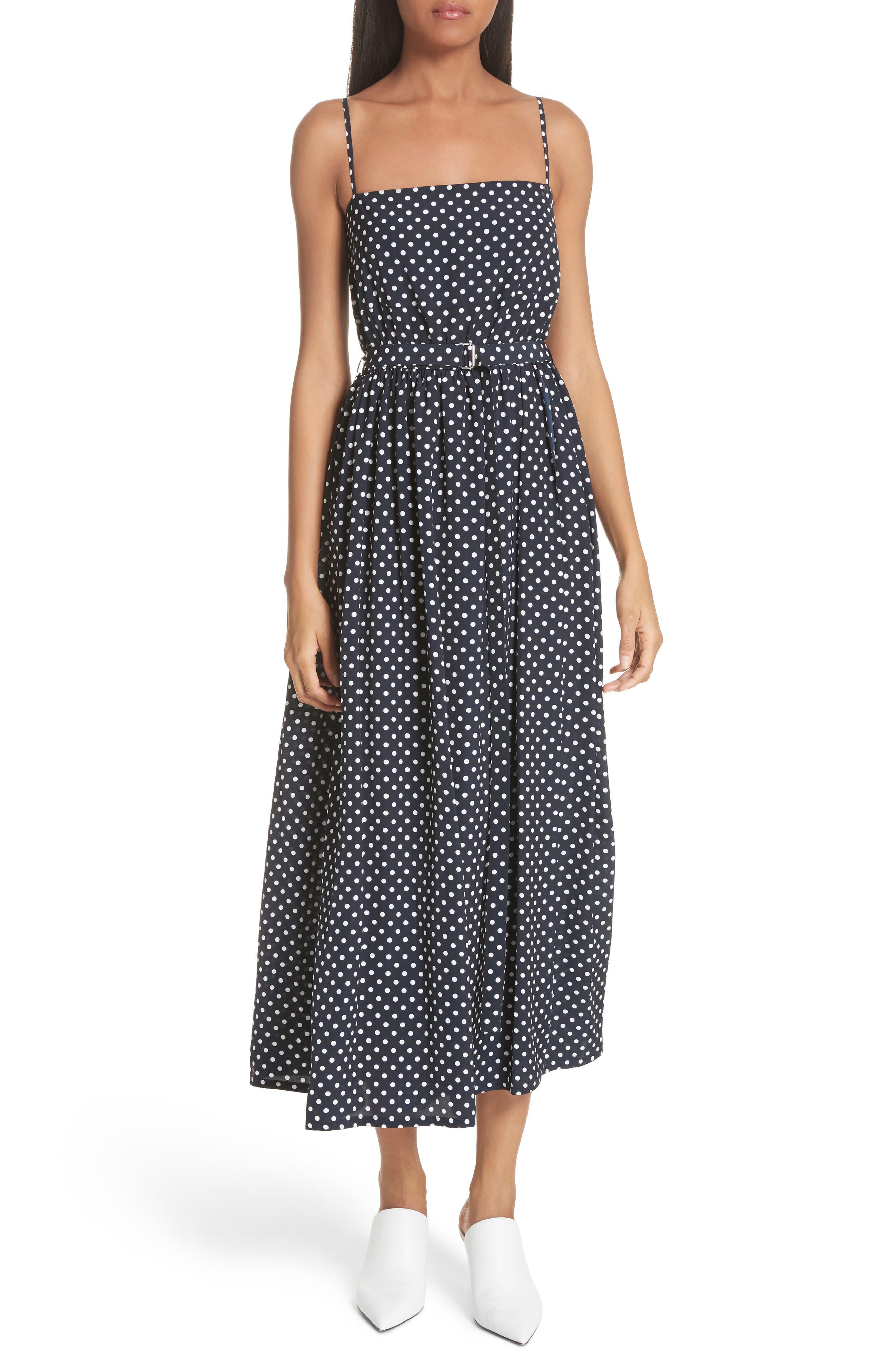 Polka Dot Midi Dress,                         Main,                         color, Navy