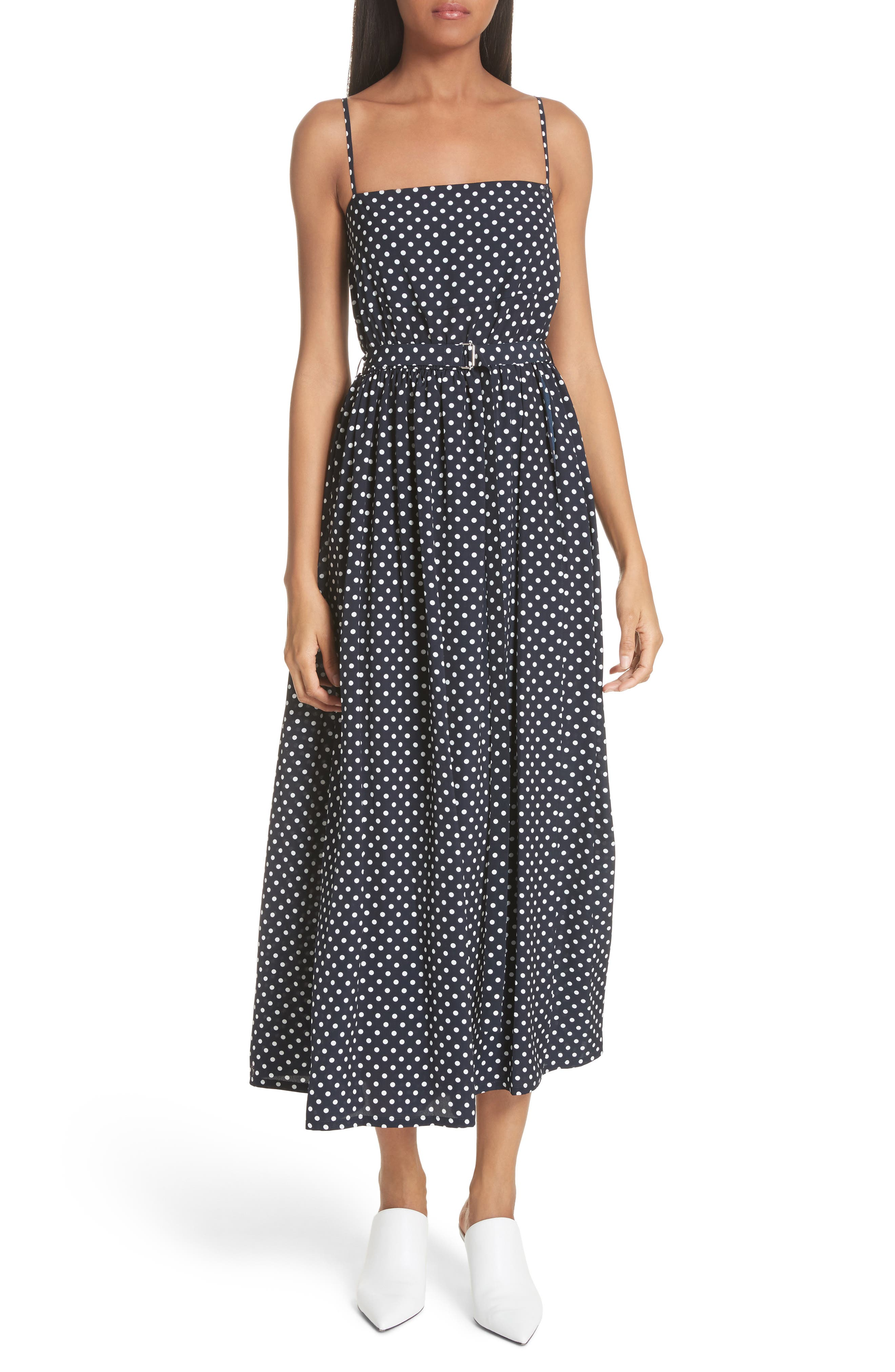 Polka Dot Midi Dress,                         Main,                         color, Navy