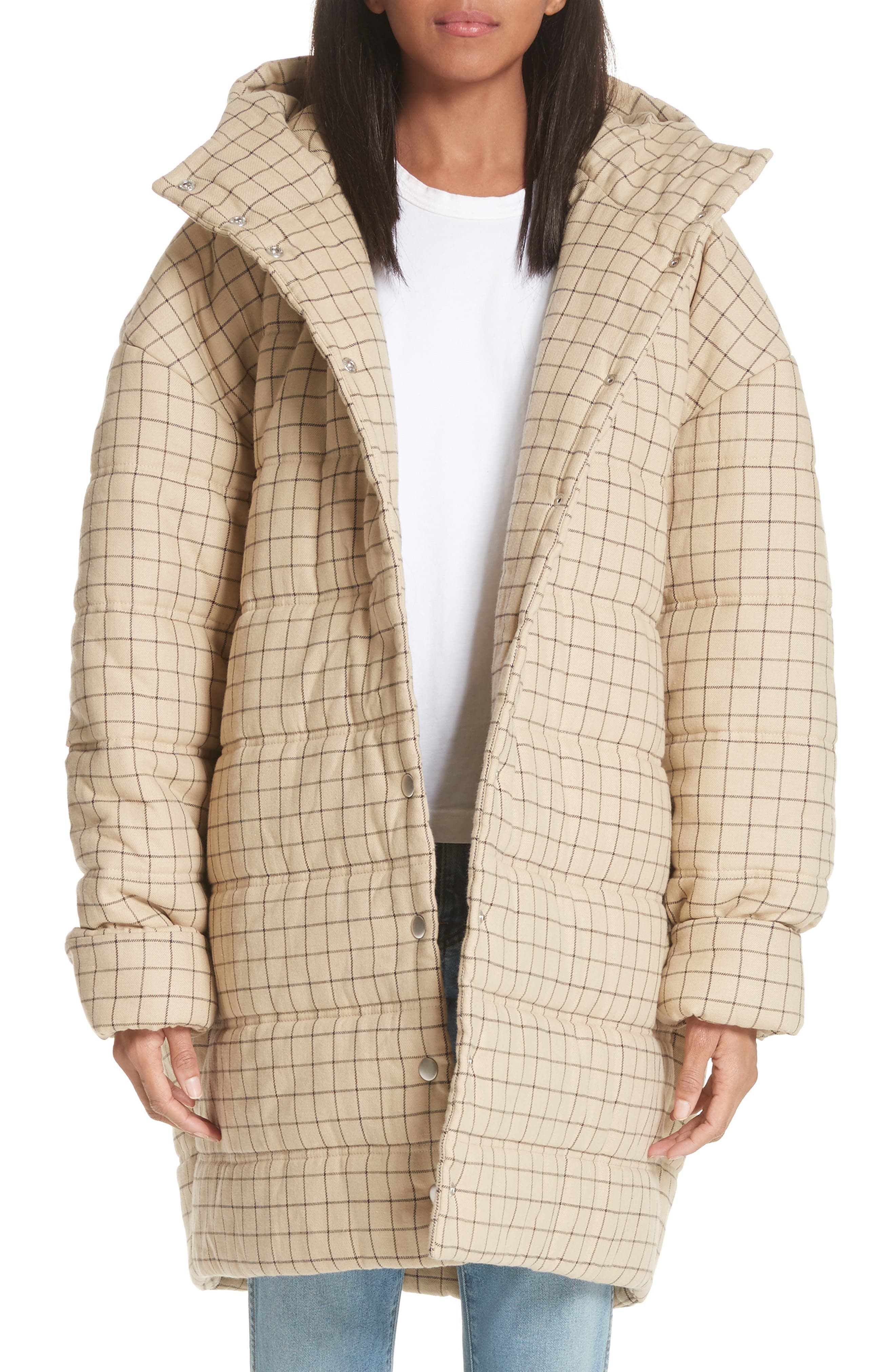 Check Puffer Coat,                             Main thumbnail 1, color,                             Beige Check