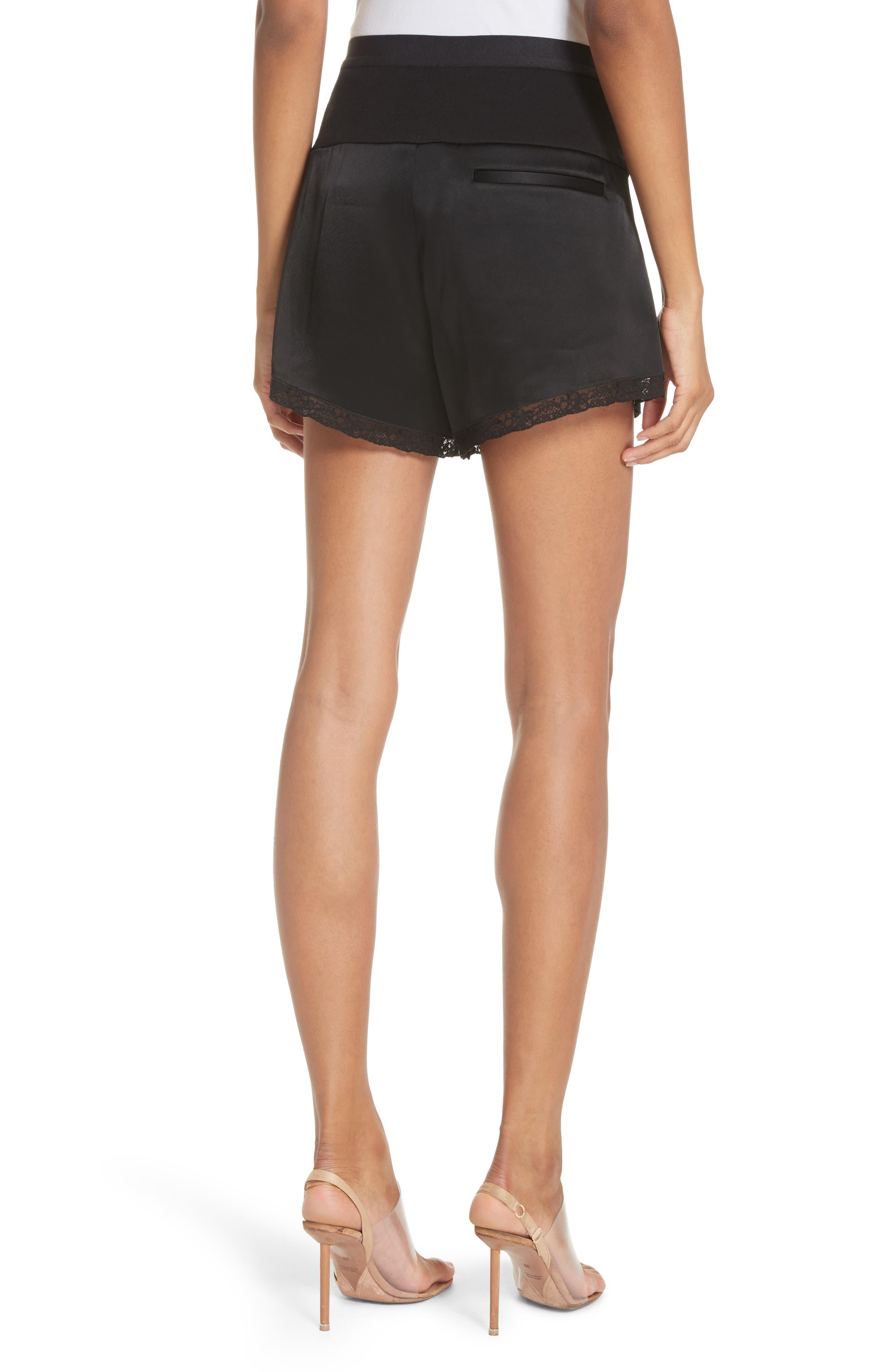 Lace Trim Satin Shorts,                             Alternate thumbnail 2, color,                             Black