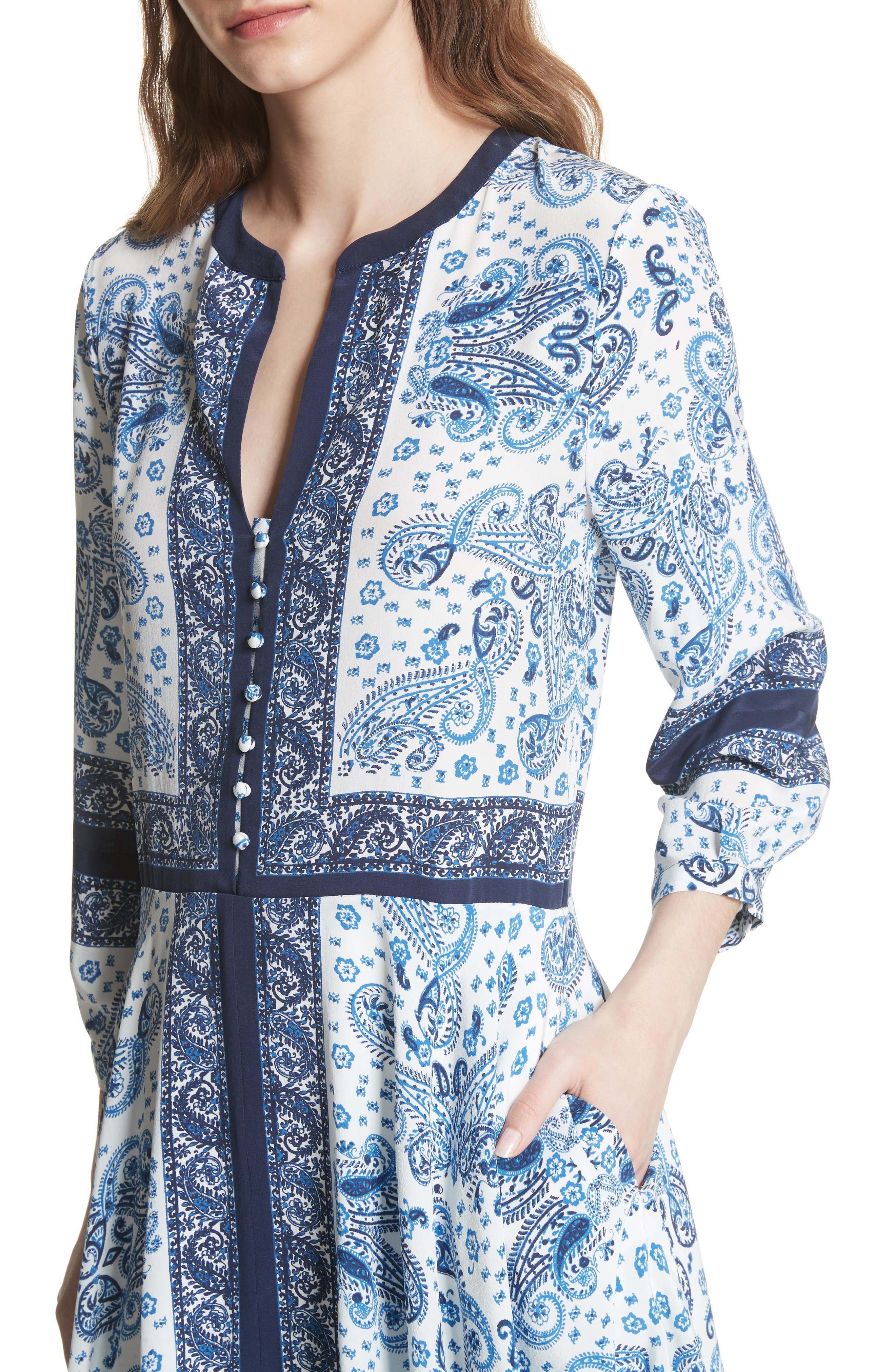 Cyntia Paisley Silk Dress,                             Alternate thumbnail 4, color,                             Porcelain