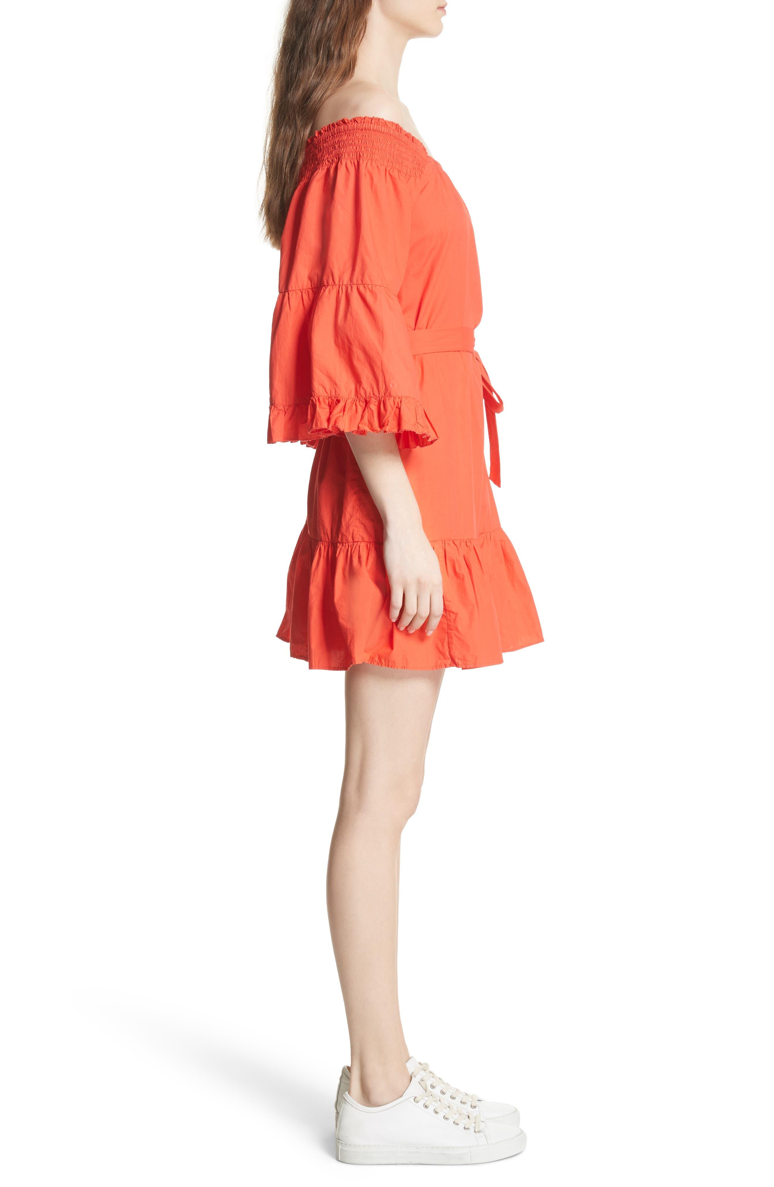 Colstona Ruffle Cotton Dress,                             Alternate thumbnail 4, color,                             Salsa