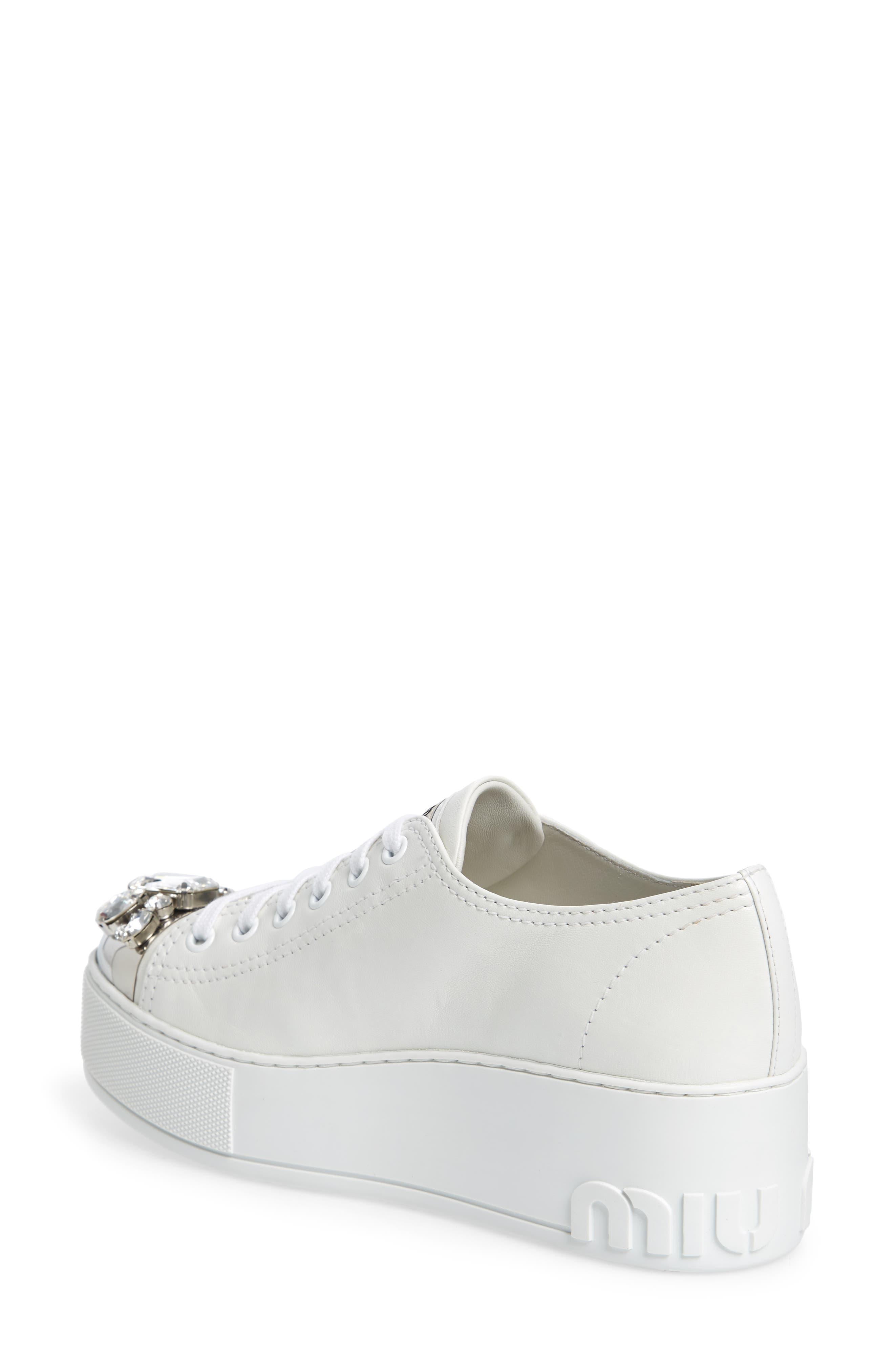 Crystal Cap Toe Sneaker,                             Alternate thumbnail 2, color,                             White
