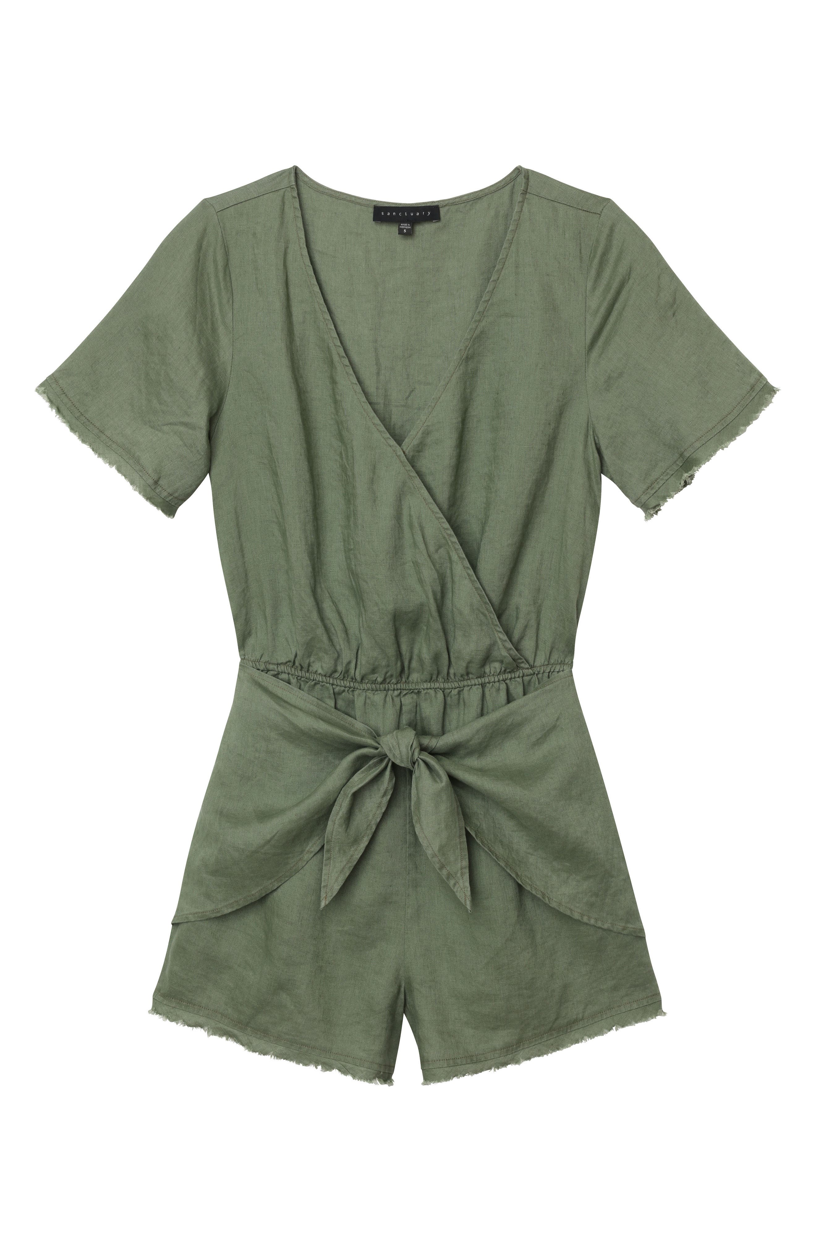 Date Palm Linen Romper,                             Alternate thumbnail 4, color,                             Cadet