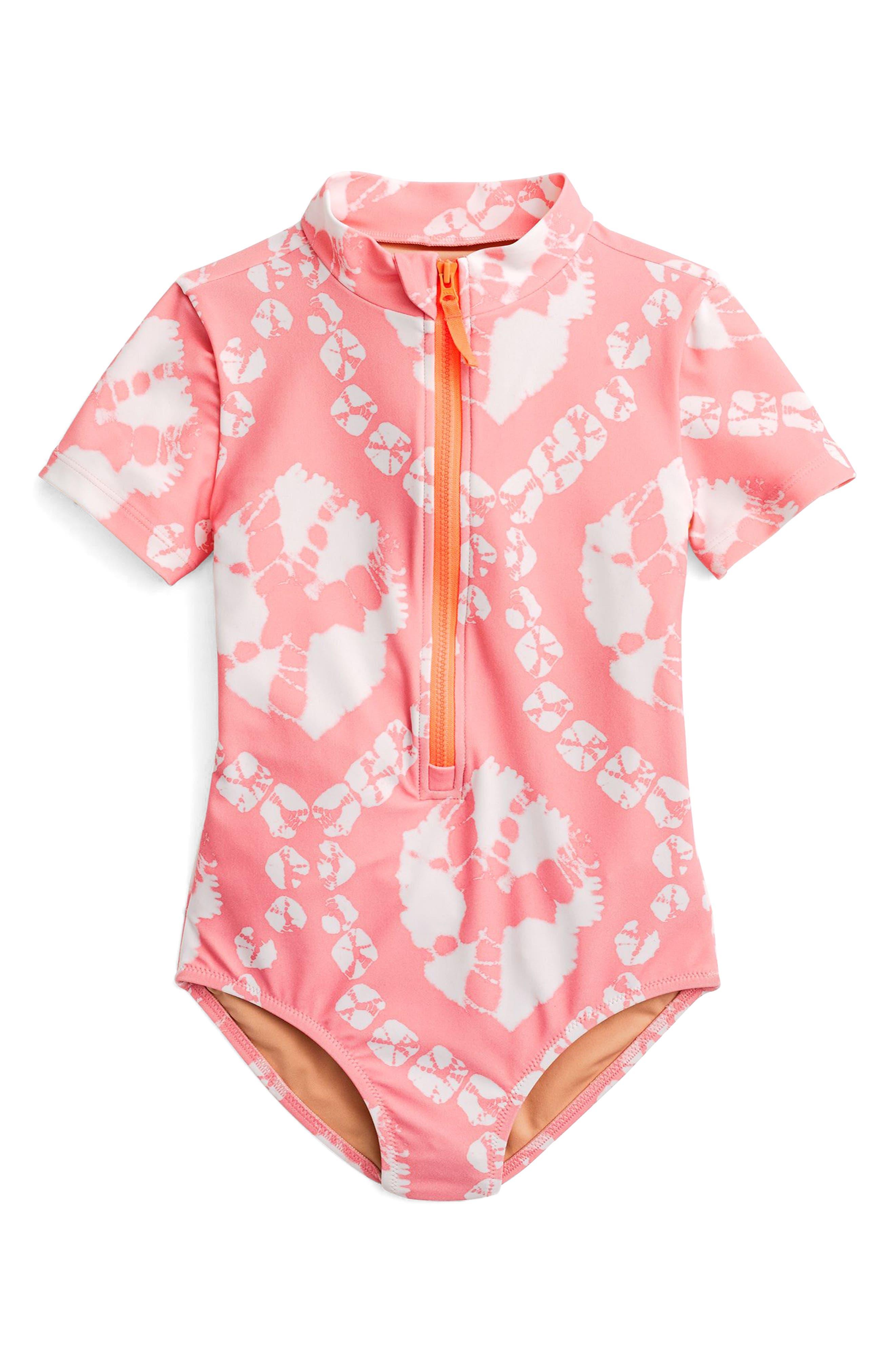 Tie Dye One-Piece Rashguard Swimsuit,                             Main thumbnail 1, color,                             Pink Orange Multi Ka3139