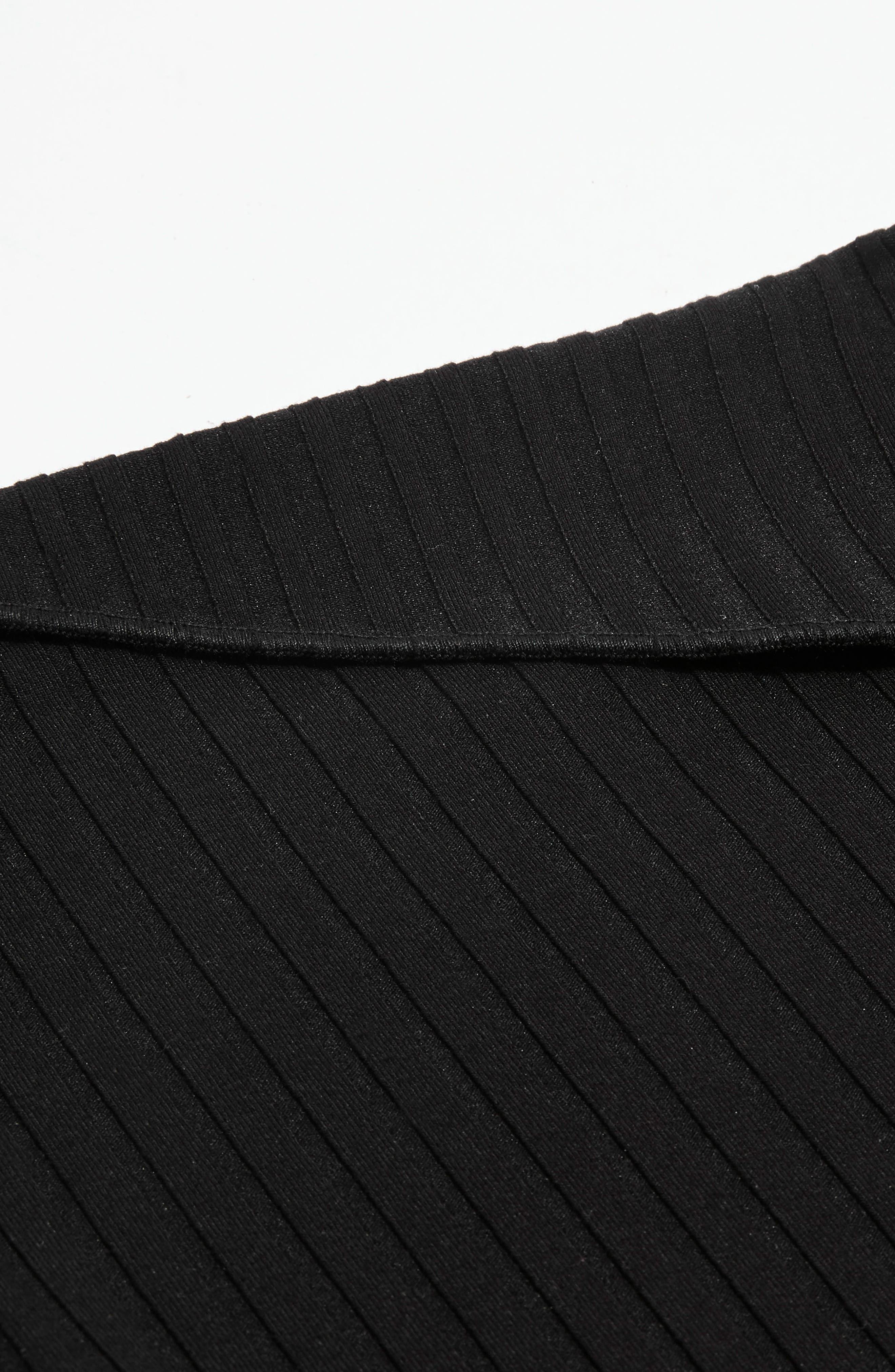 Fold Neck Rib Shirt,                             Alternate thumbnail 4, color,                             Black