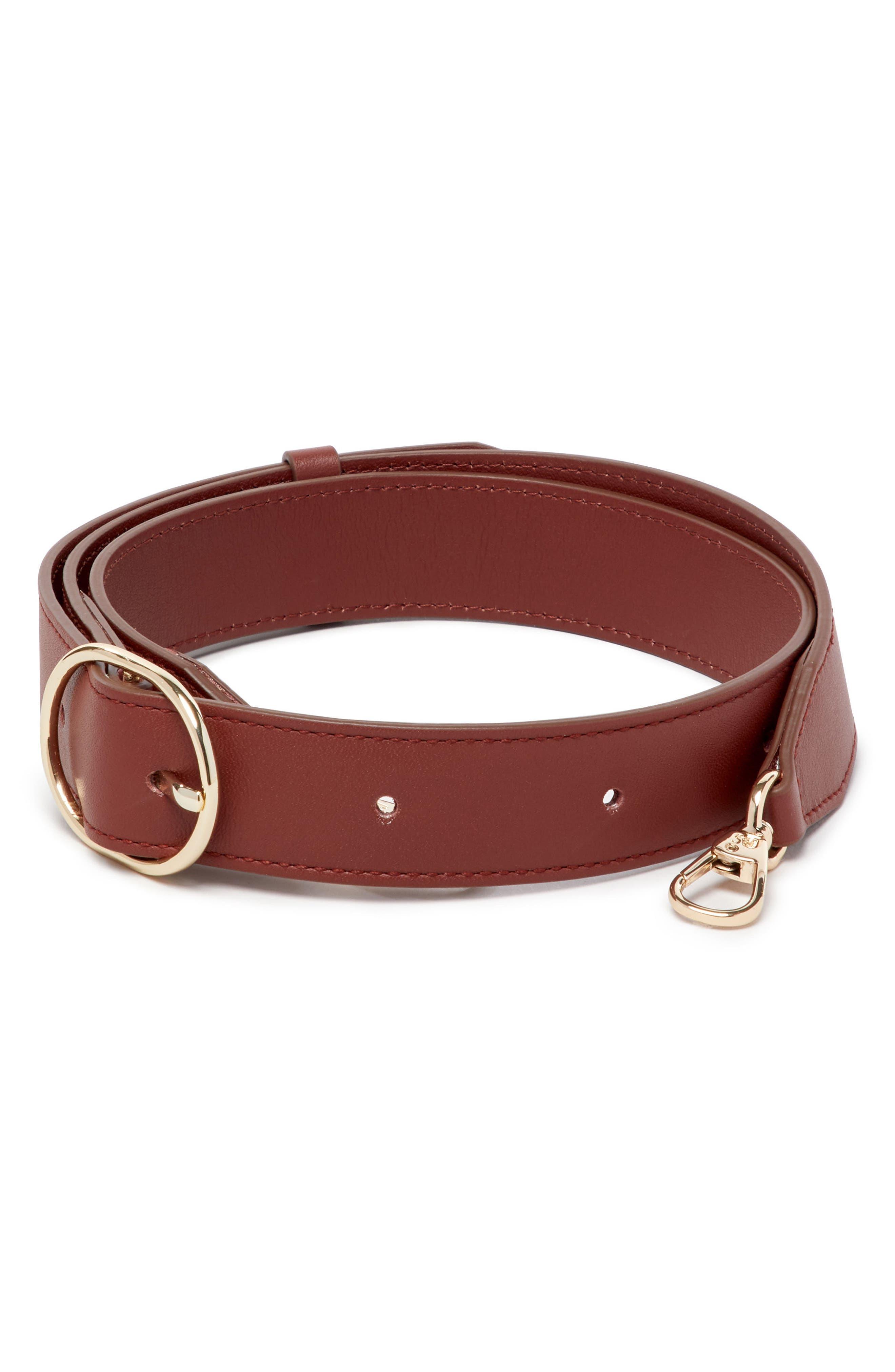 Leather Wide Fanny Strap,                         Main,                         color, Cognac