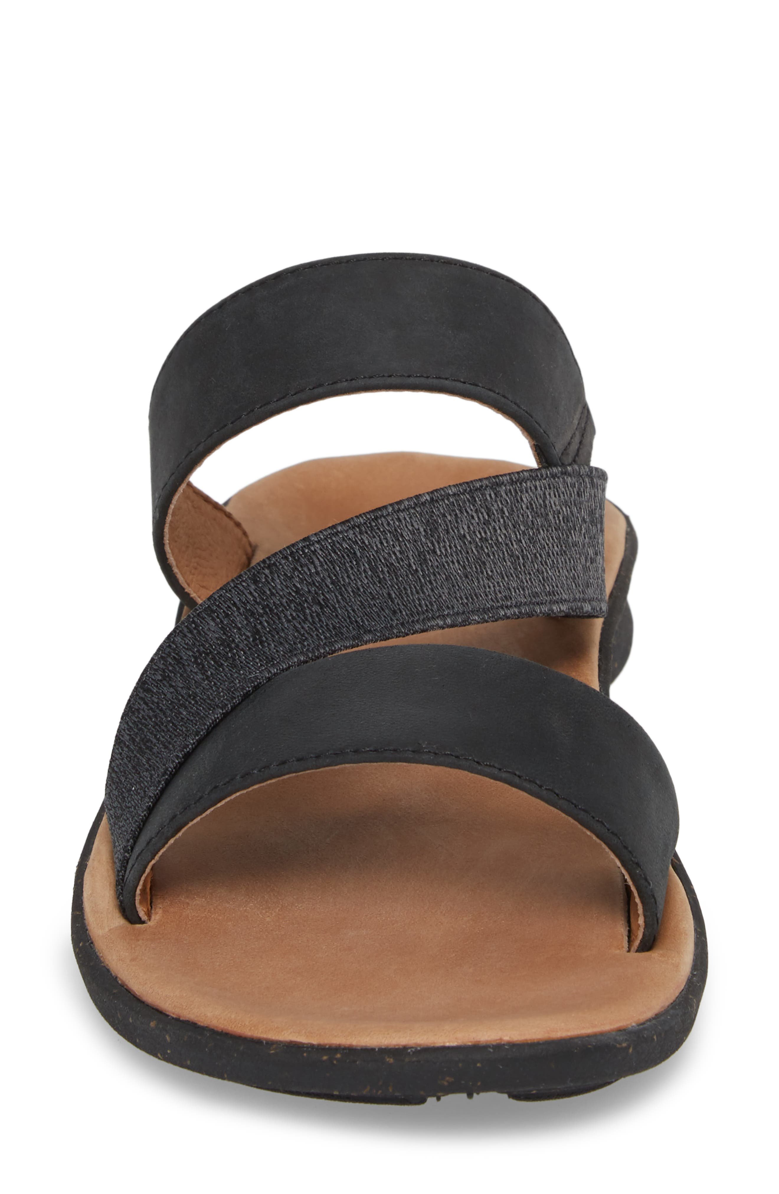 Reyes Slide Sandal,                             Alternate thumbnail 4, color,                             Black Leather