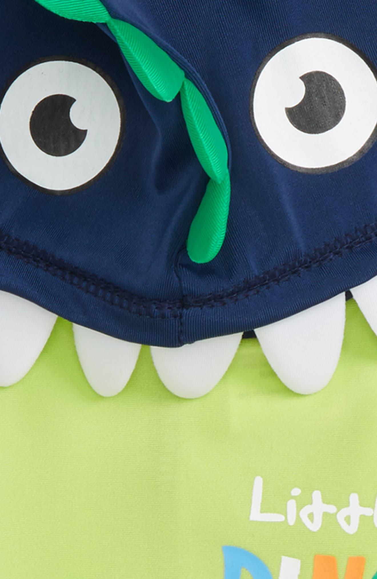 Little Dino Hooded Rashguard & Board Shorts Set,                             Alternate thumbnail 3, color,                             Navy
