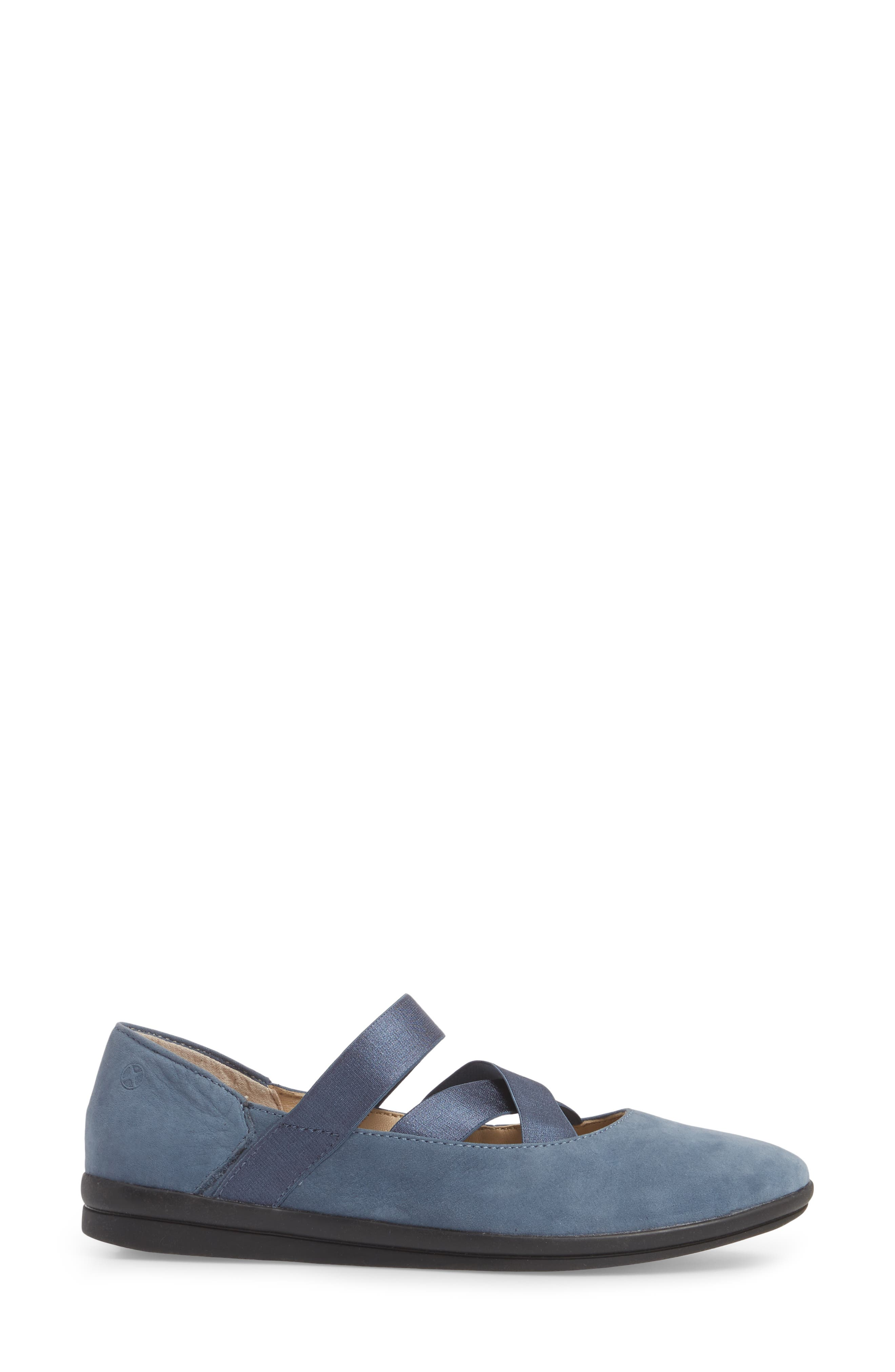 Meree Madrine Cross Strap Flat,                             Alternate thumbnail 3, color,                             Vintage Indigo Nubuck Leather