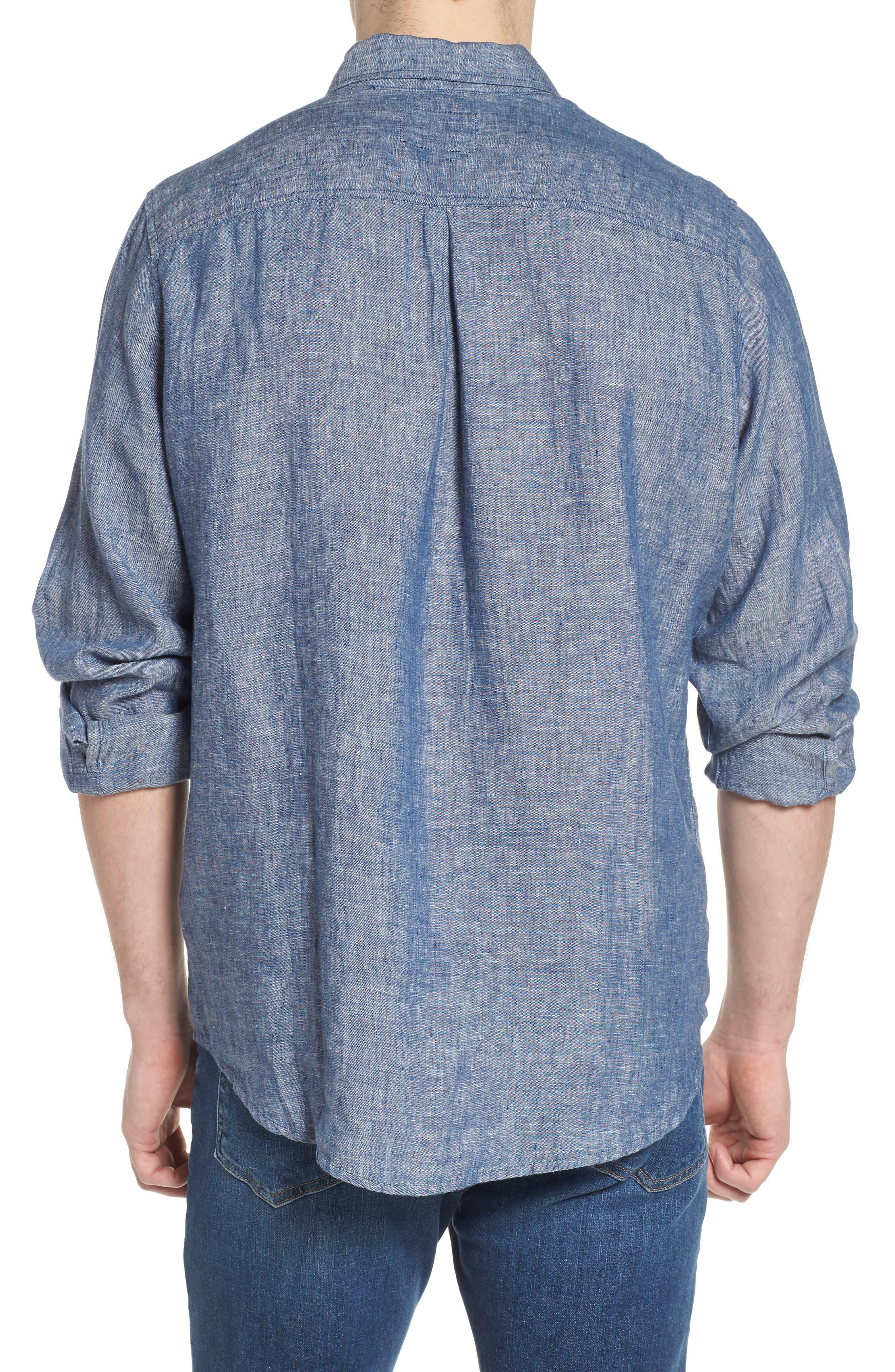 Bennett Linen Sport Shirt,                             Alternate thumbnail 2, color,                             Chambray Blue