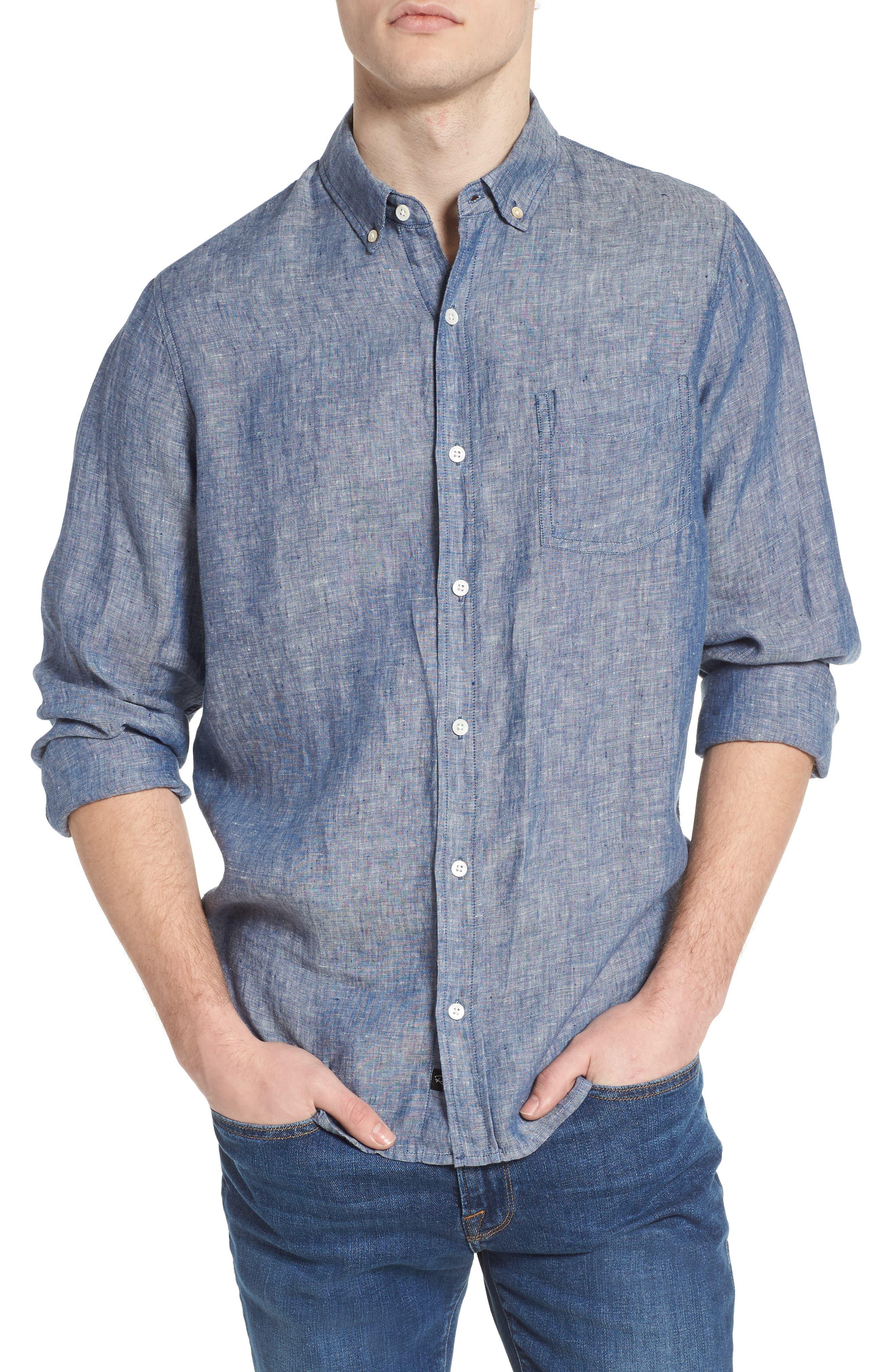 Bennett Linen Sport Shirt,                             Main thumbnail 1, color,                             Chambray Blue