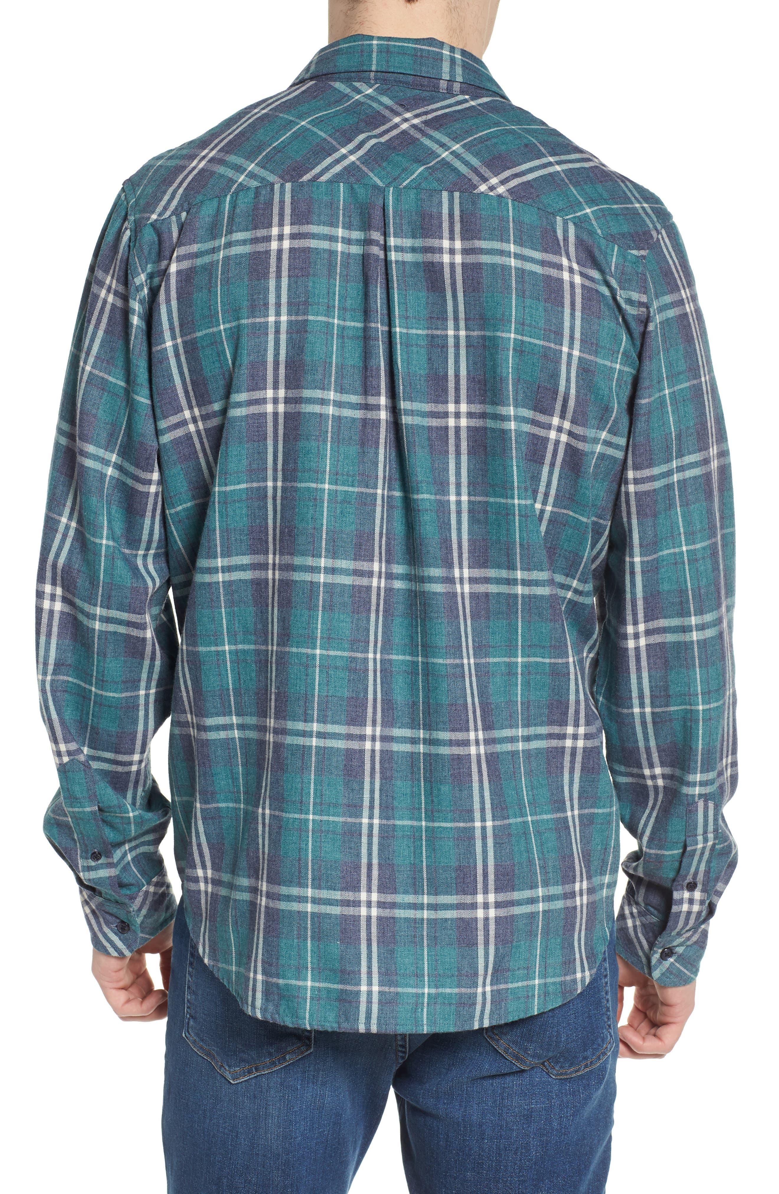 Lennox Slim Fit Plaid Woven Shirt,                             Alternate thumbnail 2, color,                             Veridian Navy White