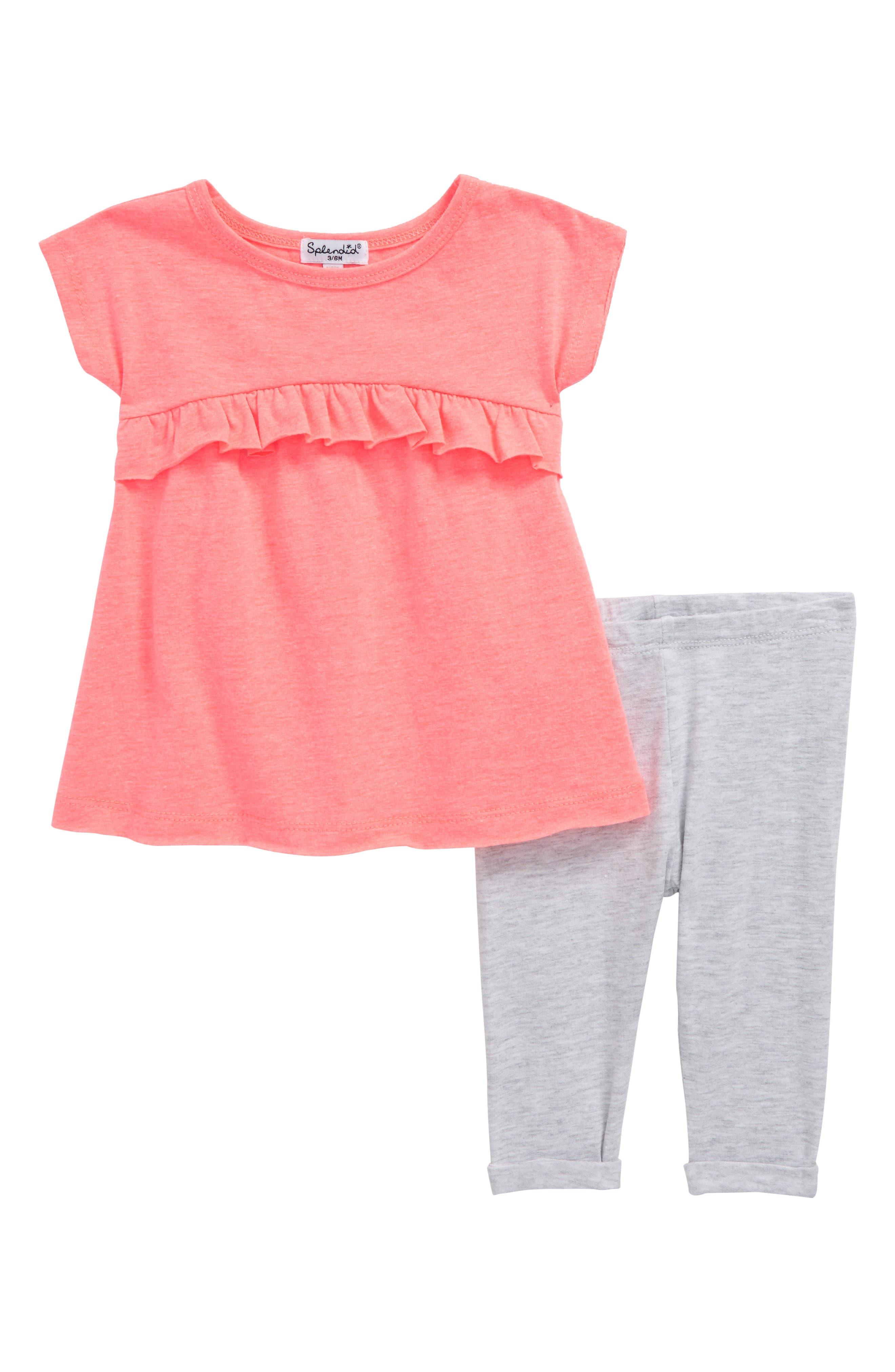 Ruffle Swing Top & Leggings Set,                         Main,                         color, Electric Pink