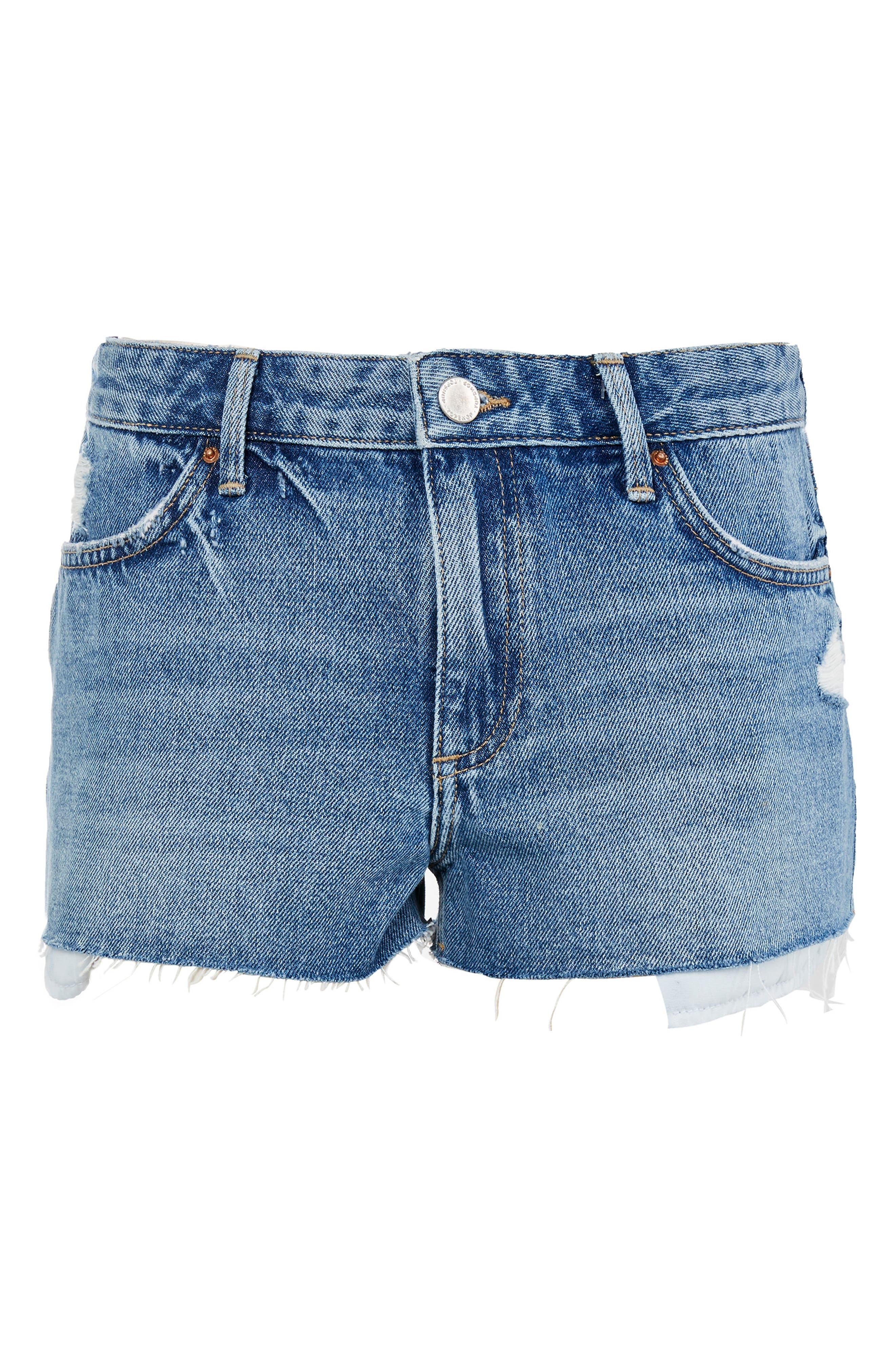 Alternate Image 3  - Topshop Cory Moto Mid Denim Shorts