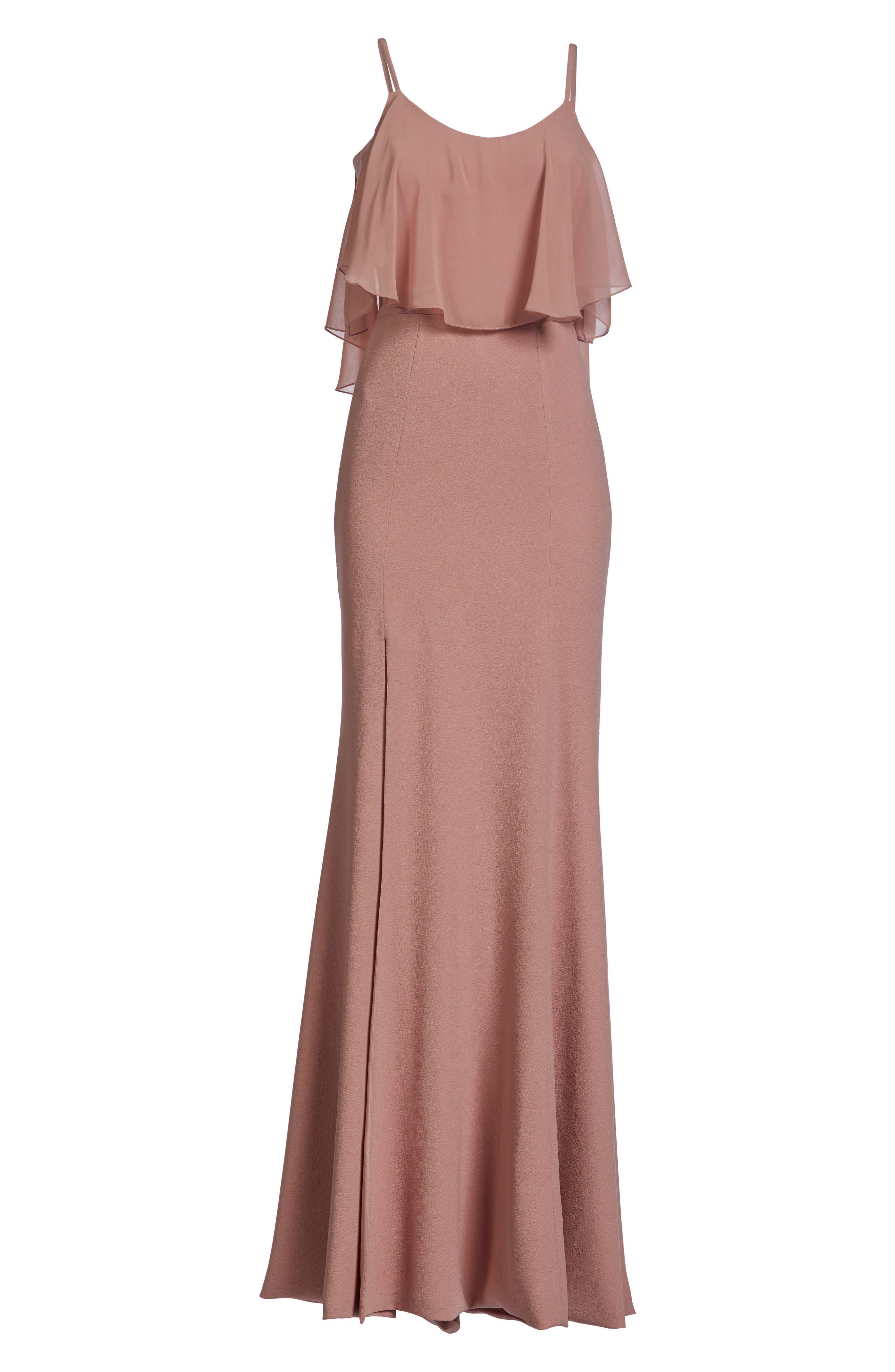 Diana Cold Shoulder Side Slit Gown,                             Alternate thumbnail 4, color,                             Blush