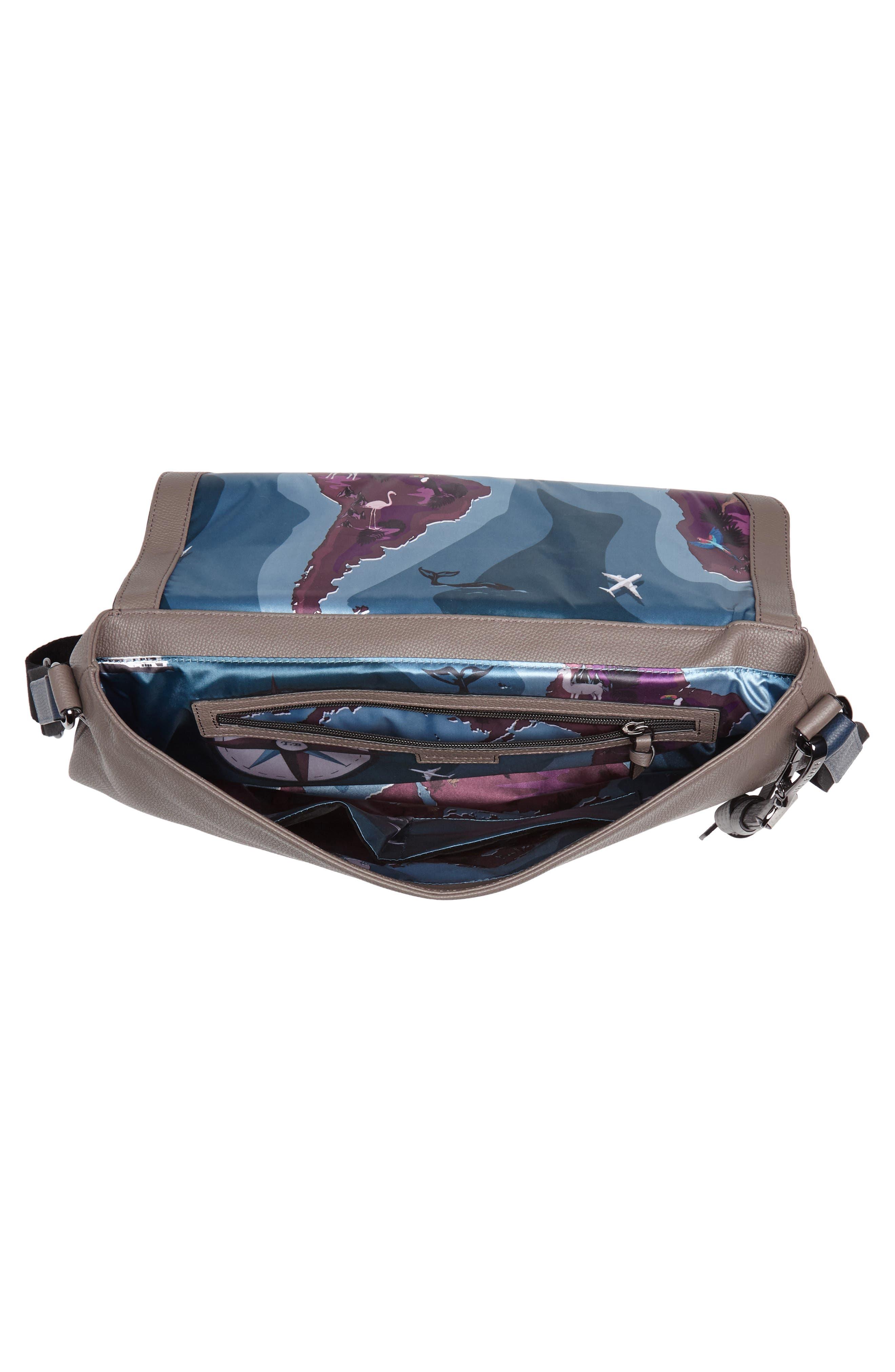 Ted Baker Sandune Leather Messenger Bag,                             Alternate thumbnail 3, color,                             Grey